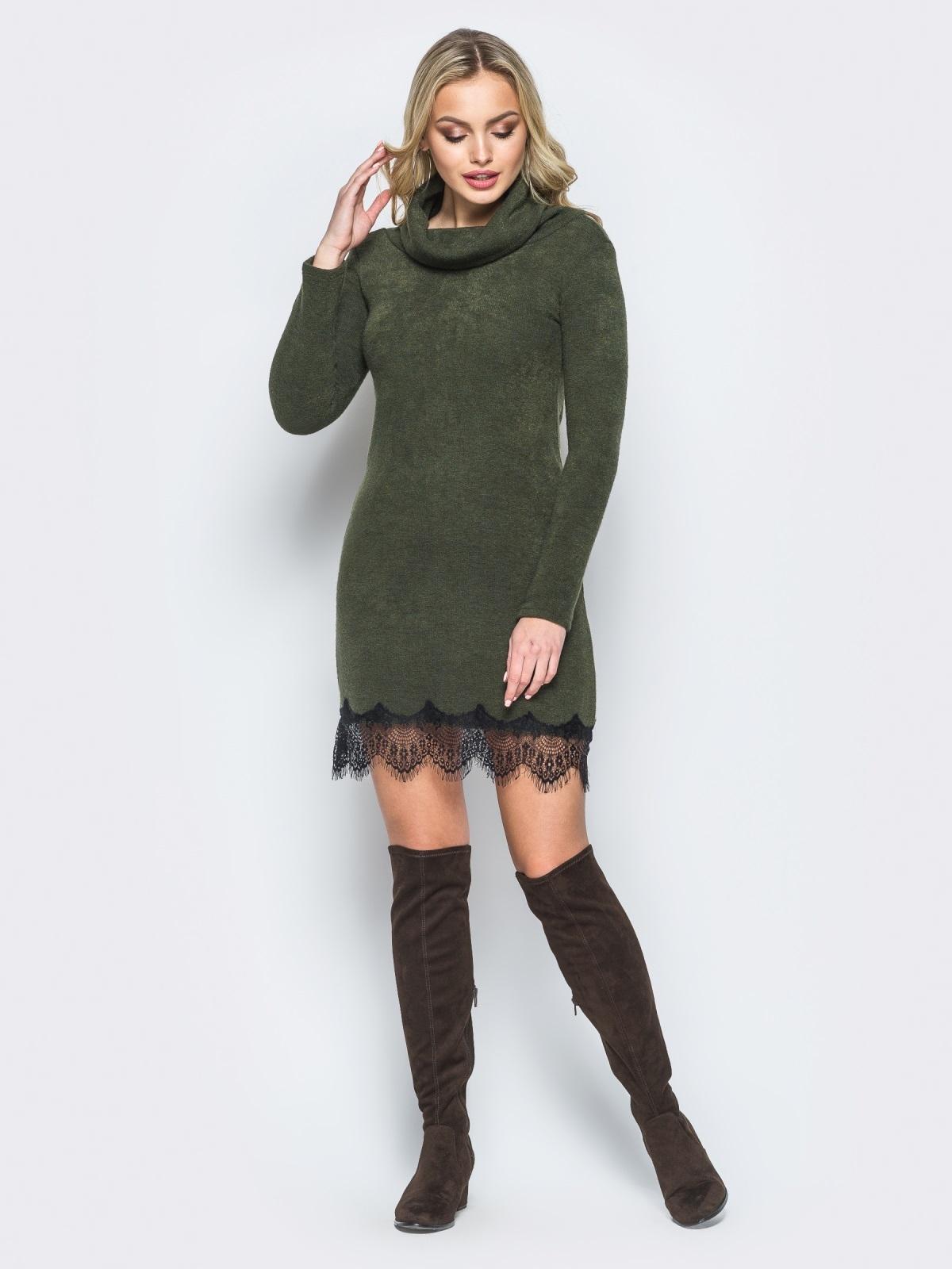 Платье из ангоры с воротником-хомут зелёное - 17790, фото 1 – интернет-магазин Dressa