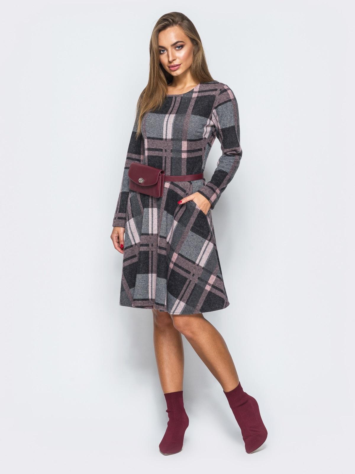 Платье с юбкой-полусолнце и прорезными карманами 17642, фото 1