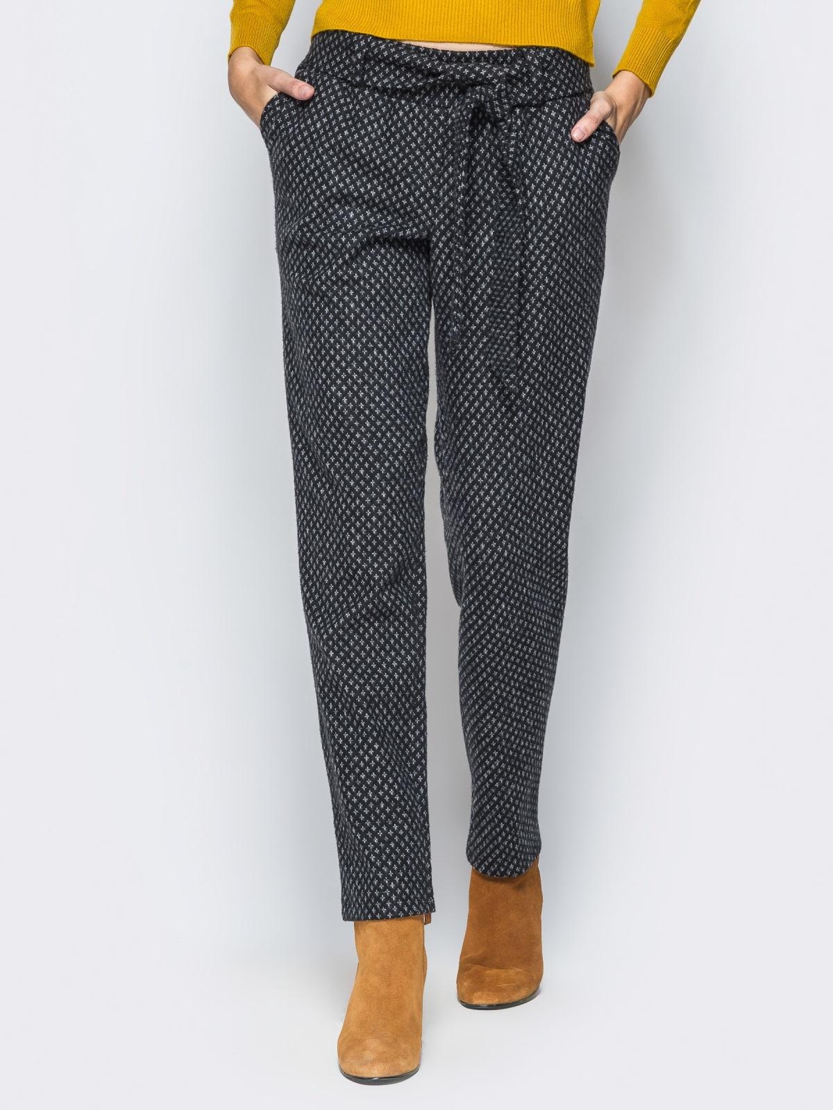 Зауженные брюки из полушерстяного трикотажа - 17619, фото 1 – интернет-магазин Dressa