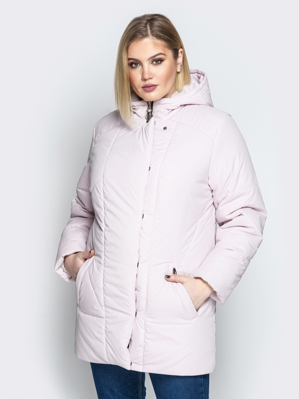 Розовая куртка с капюшоном и нахлёстом на кнопках - 20082, фото 1 – интернет-магазин Dressa