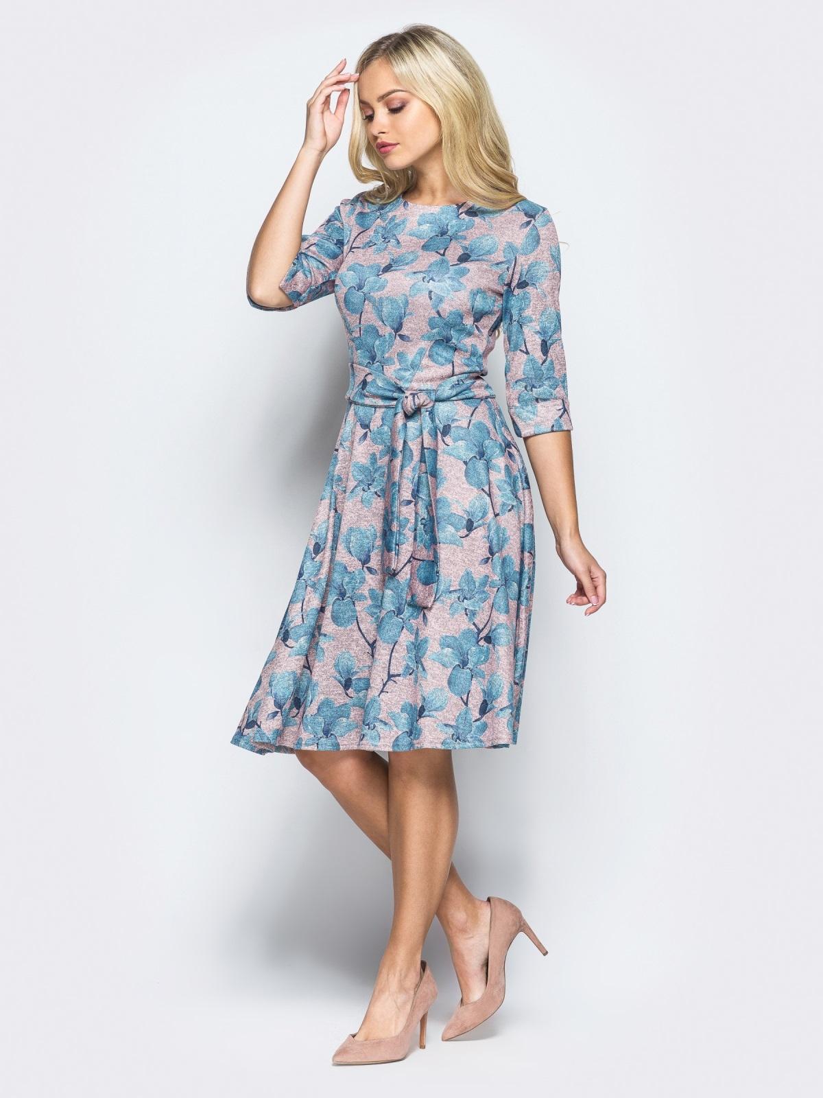 8340f17f8675684 Розовое трикотажное платье с расклешенной юбкой - 16403, фото 1 –  интернет-магазин Dressa