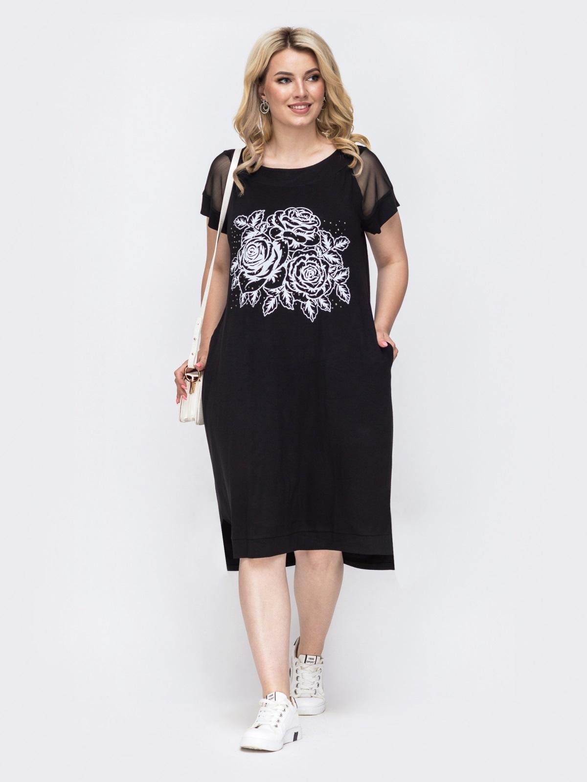 Чёрное платье батал прямого кроя с вышивкой  49895, фото 1