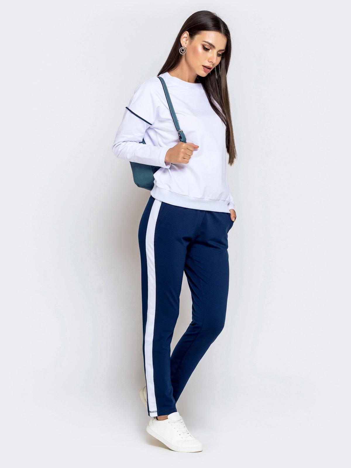Спортивный комплект из штанов с лампасами и кофты синий - 40590, фото 1 – интернет-магазин Dressa