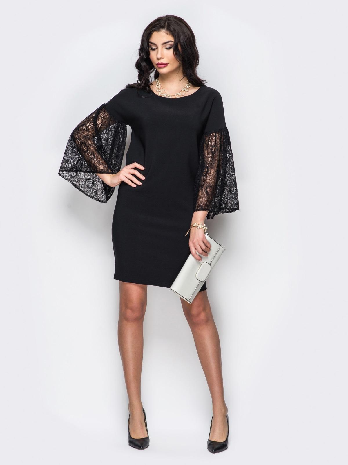 Свободное платье с объемными рукавами из гипюра чёрное - 22154, фото 1 – интернет-магазин Dressa
