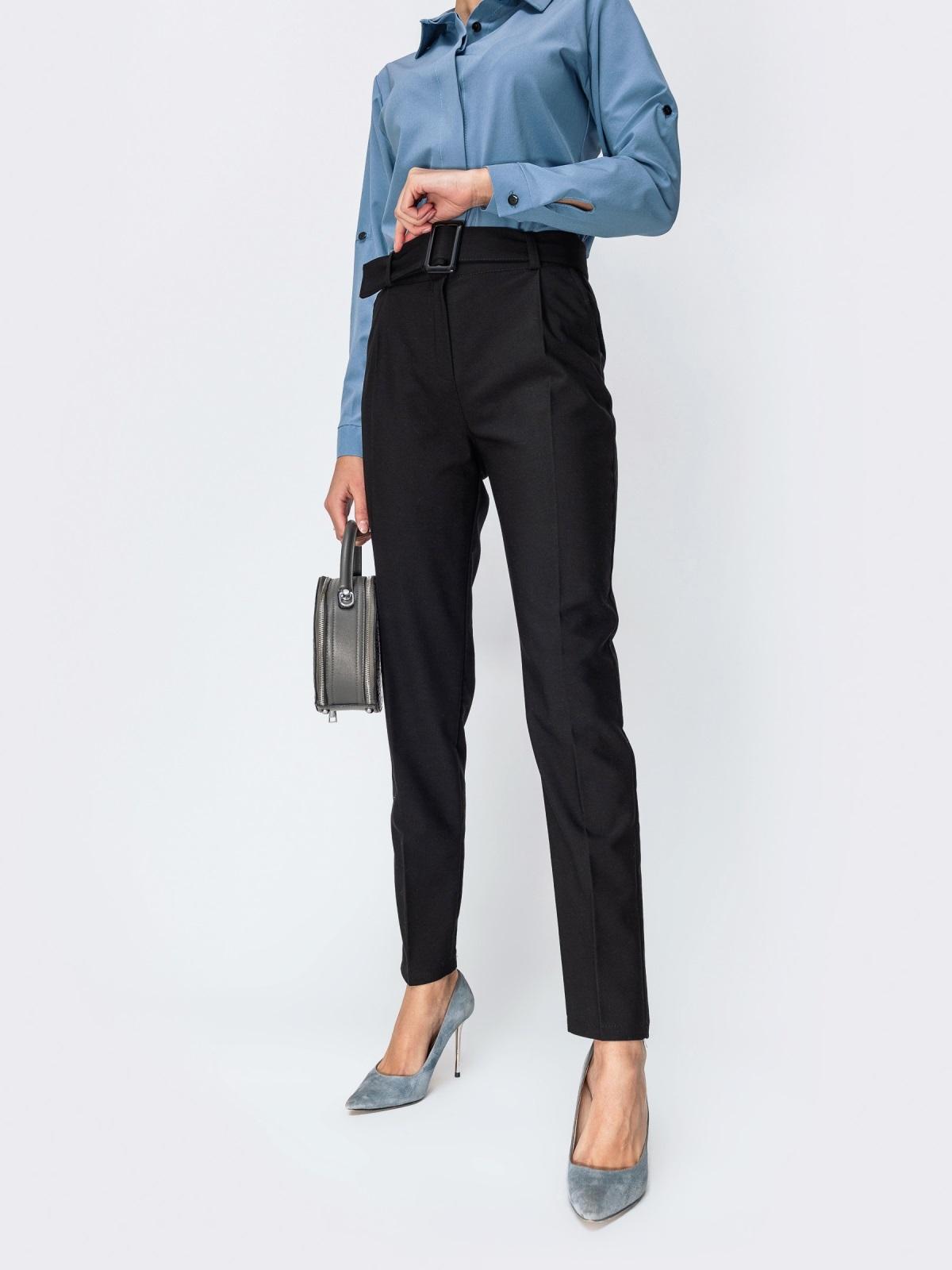Тёплые брюки с завышенной талией и поясом чёрные - 42356, фото 1 – интернет-магазин Dressa