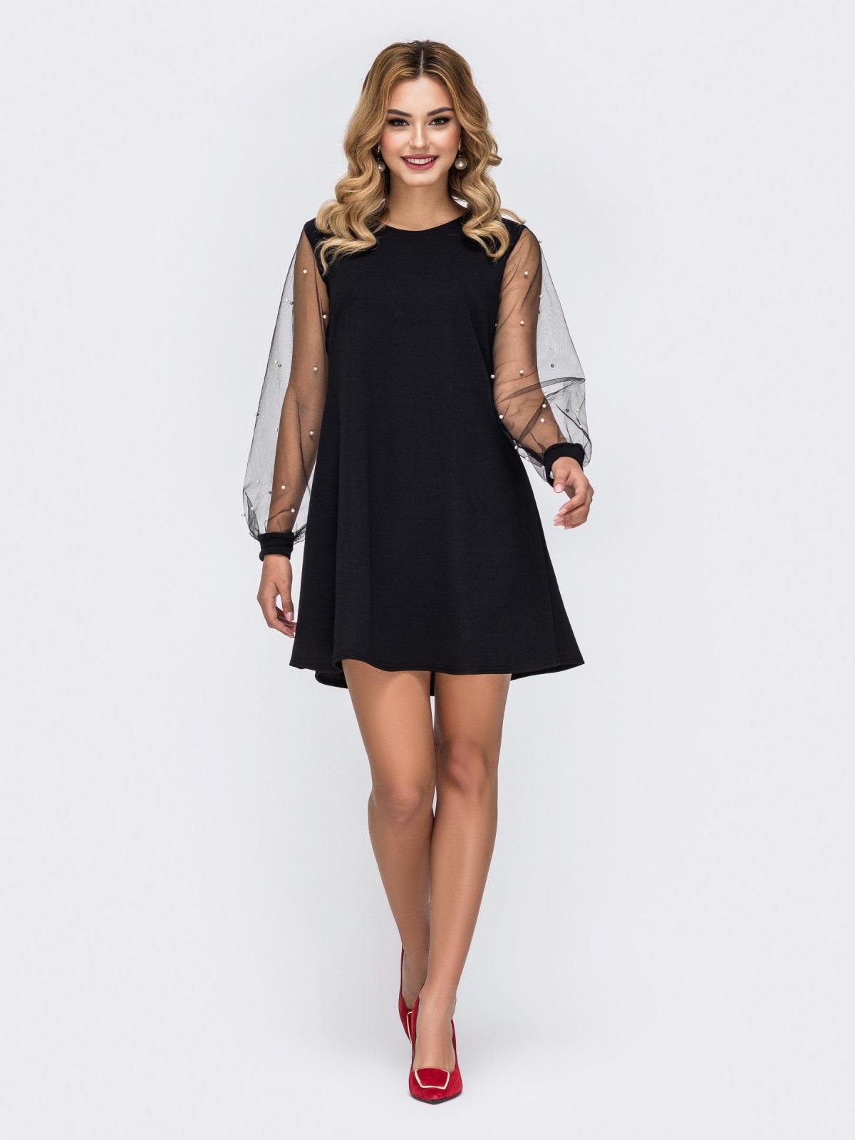 Чёрное платье-трапеция с фатиновыми рукавами и жемчужинами 42896, фото 1