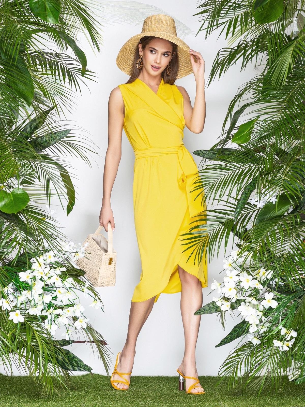 Желтое платье-халат из софта с закругленным низом - 21577, фото 1 – интернет-магазин Dressa