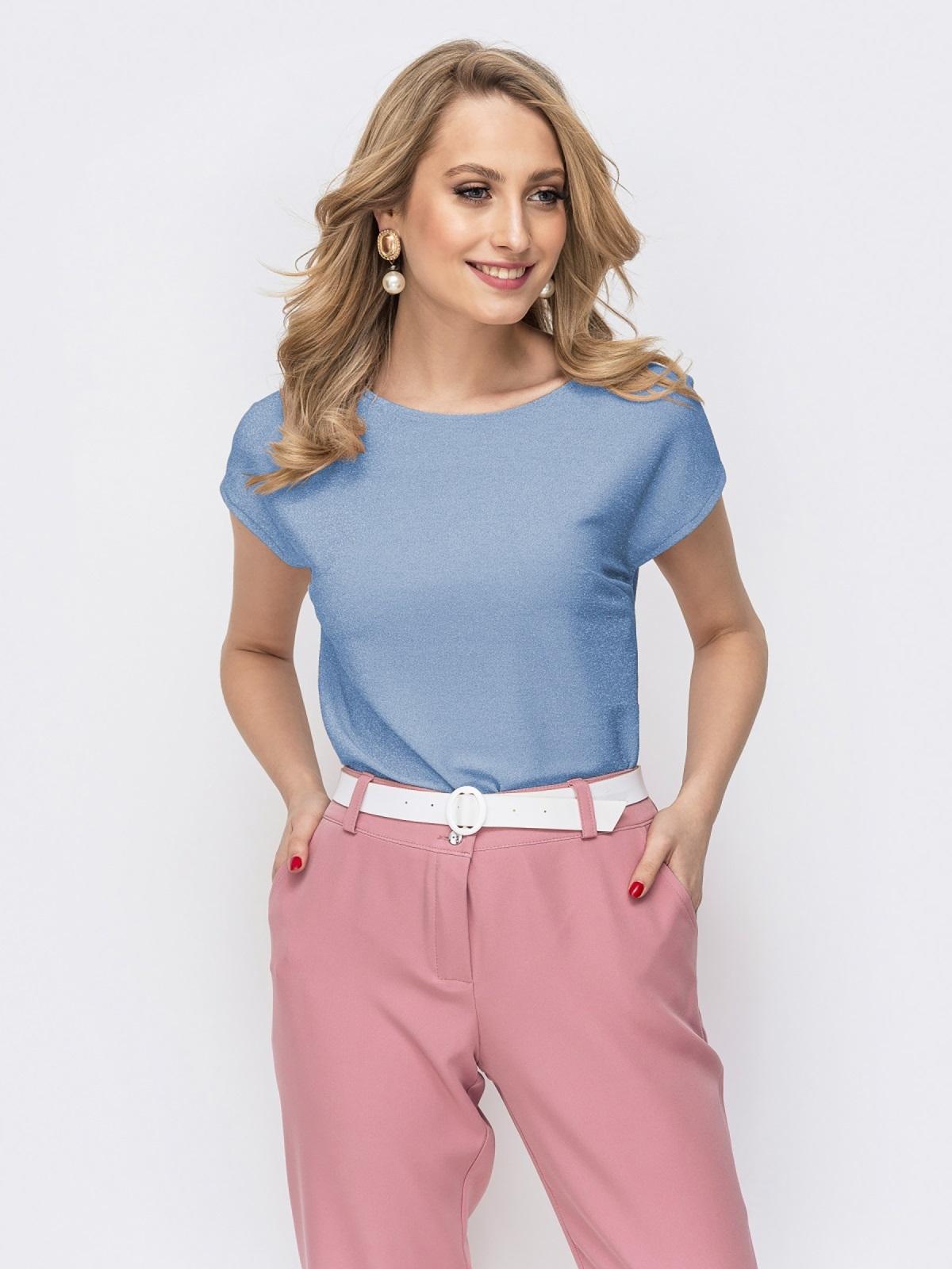 Блузка прямого кроя с люрексом голубая - 48191, фото 1 – интернет-магазин Dressa