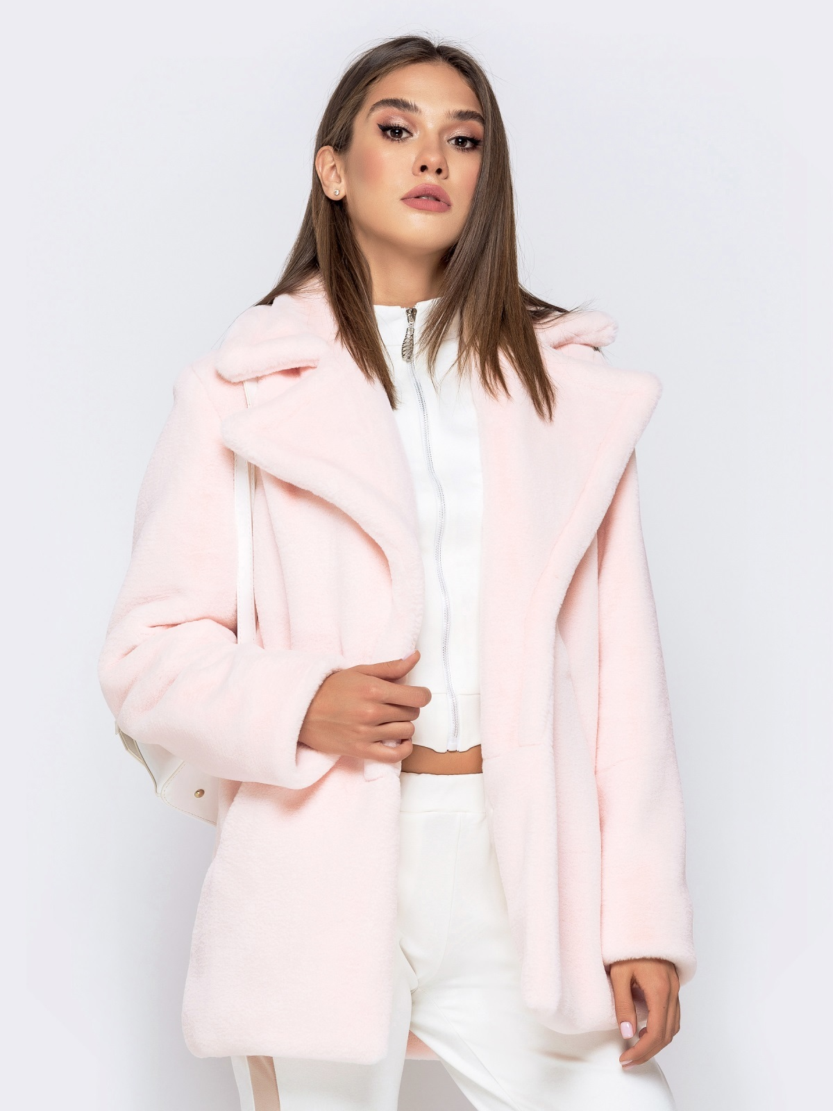 Укороченная шуба из искусственного меха розовая - 40173, фото 1 – интернет-магазин Dressa