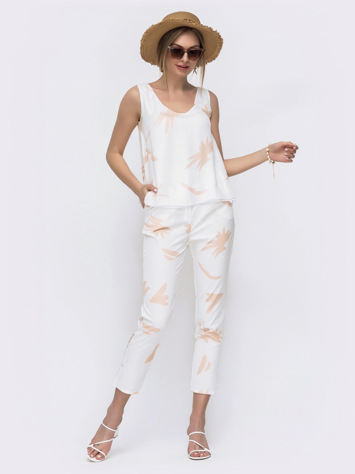 Комплект с бежевым принтом из топа и брюк - 46668, фото 1 – интернет-магазин Dressa