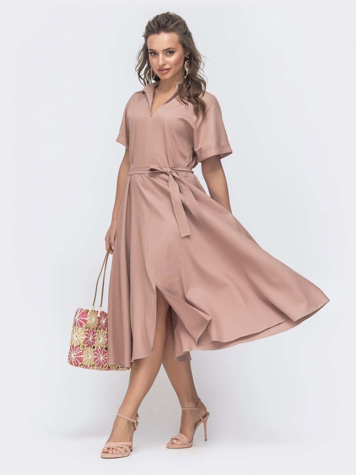 Льняное платье-кимоно с разрезом спереди пудровое 46827, фото 1