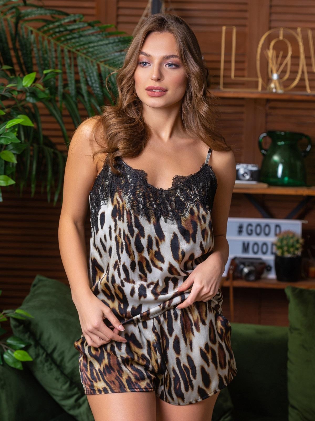 Леопардовая пижама из топа с кружевом и шортов - 21289, фото 1 – интернет-магазин Dressa