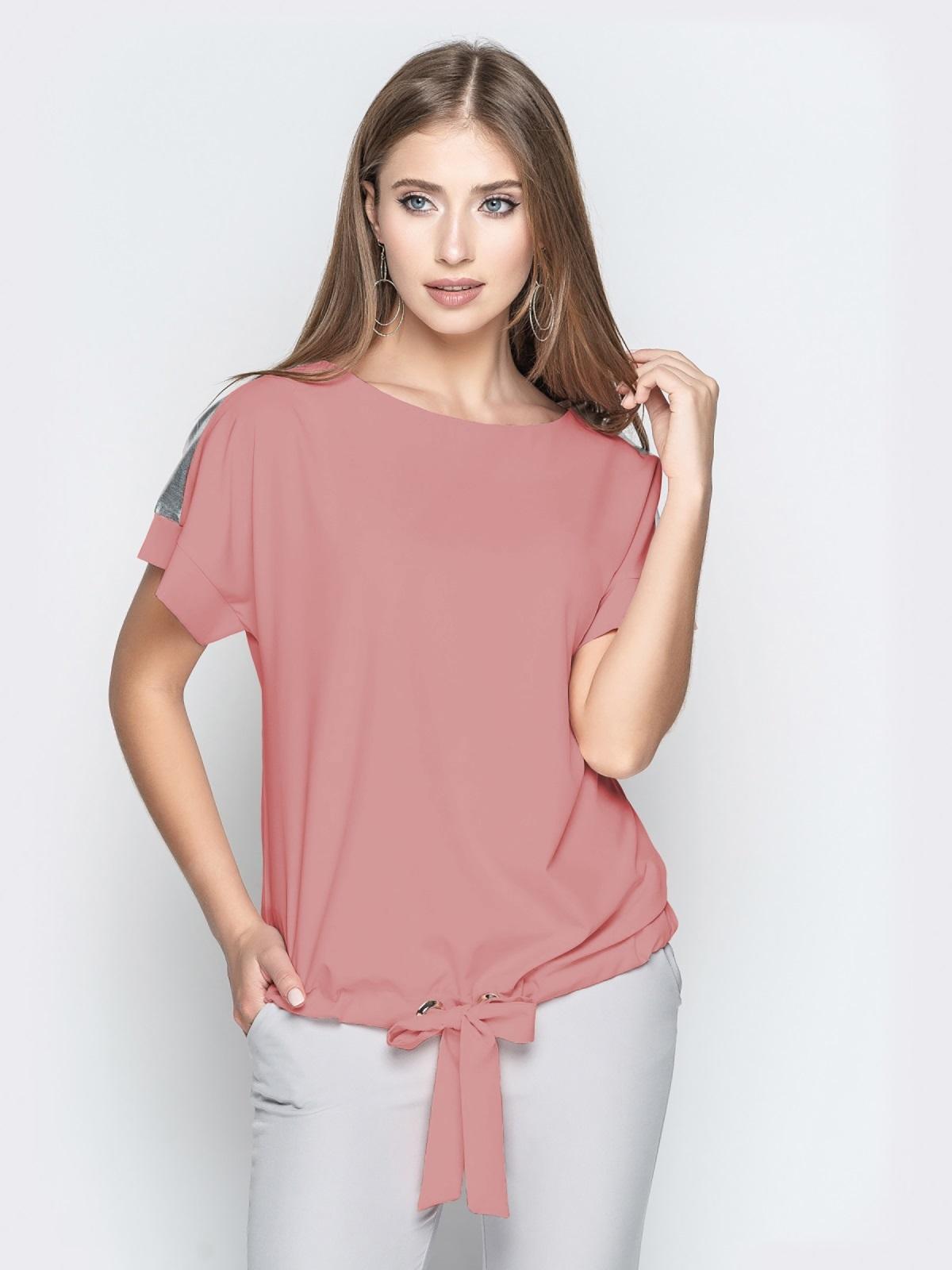Пудровая блузка с кулиской по низу и контрастными вставками 48751, фото 1