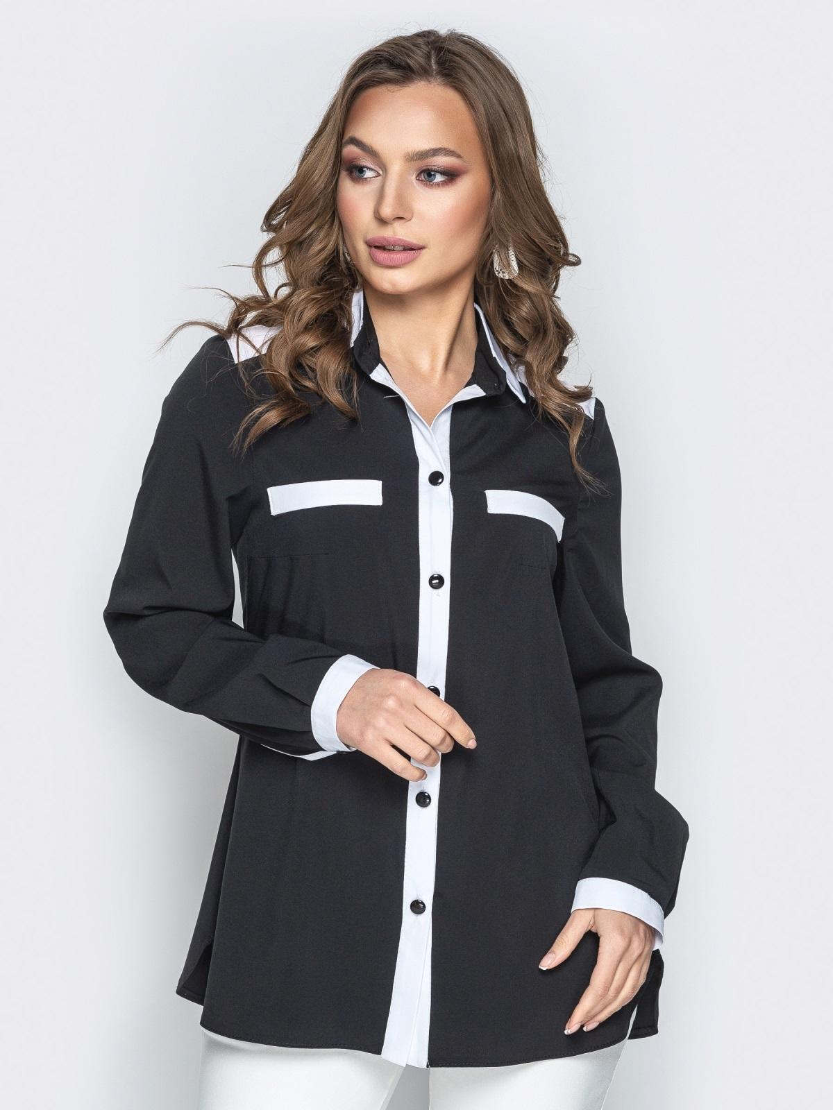 Чёрная блузка из софта с контрастной окантовкой - 21252, фото 1 – интернет-магазин Dressa