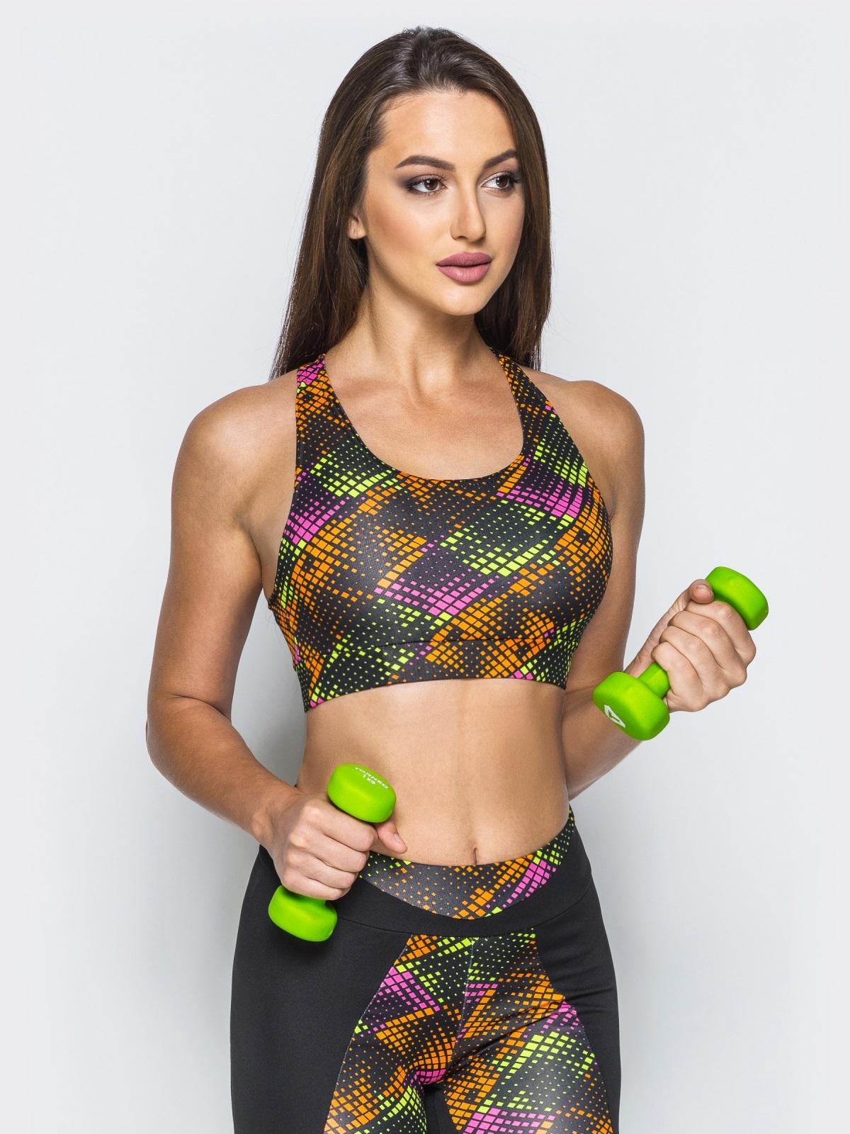 Спортивный разноцветный кроп-топ с эластичным поясом на талии - 17208, фото 1 – интернет-магазин Dressa