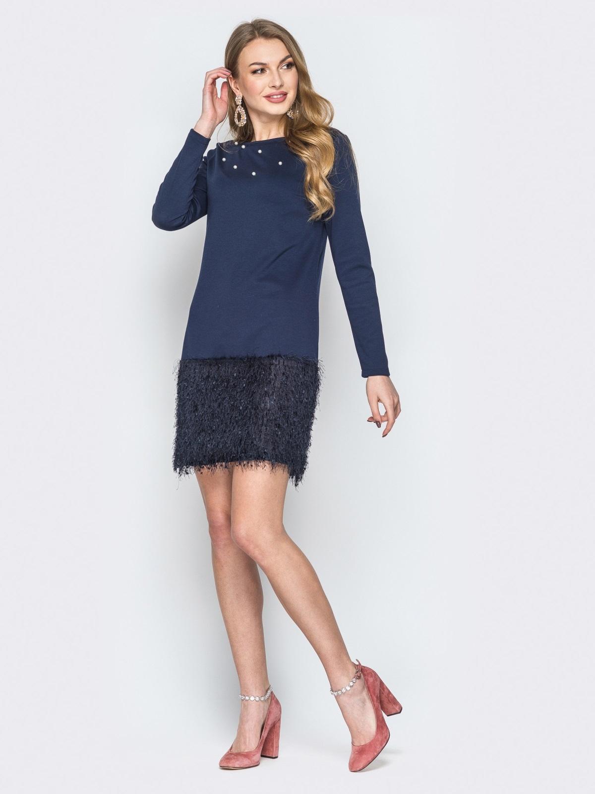 """Тёмно-синее платье с низом из трикотажа """"травка"""" - 19723, фото 1 – интернет-магазин Dressa"""