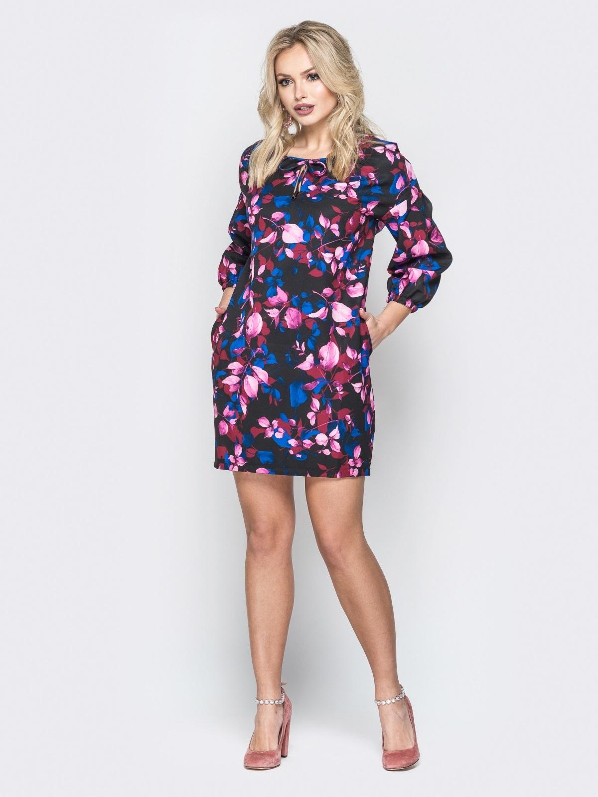 Платье-мини с цветочным принтом свободного кроя - 19967, фото 1 – интернет-магазин Dressa