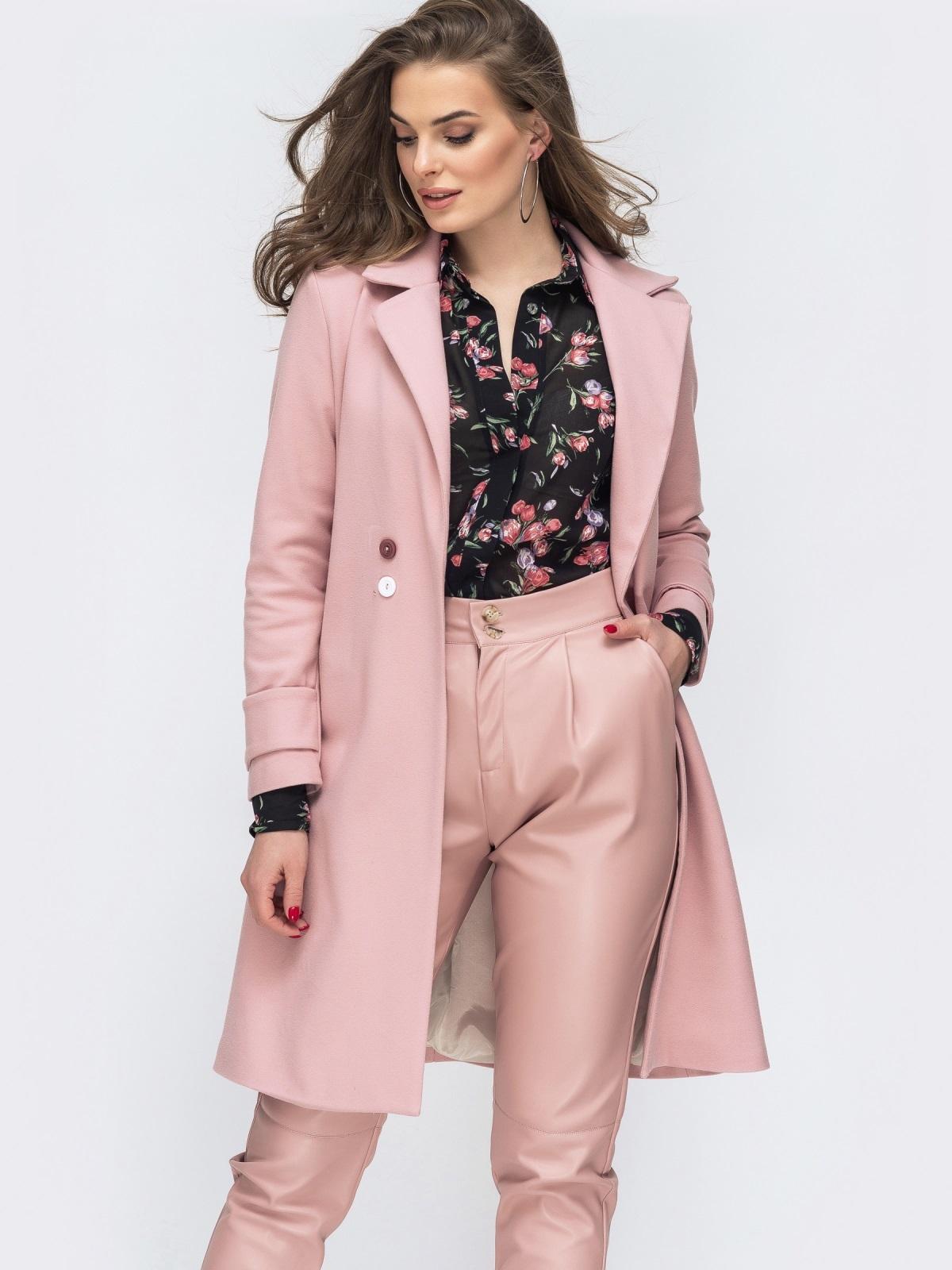 Розовое пальто из кашемира - 45175, фото 1 – интернет-магазин Dressa