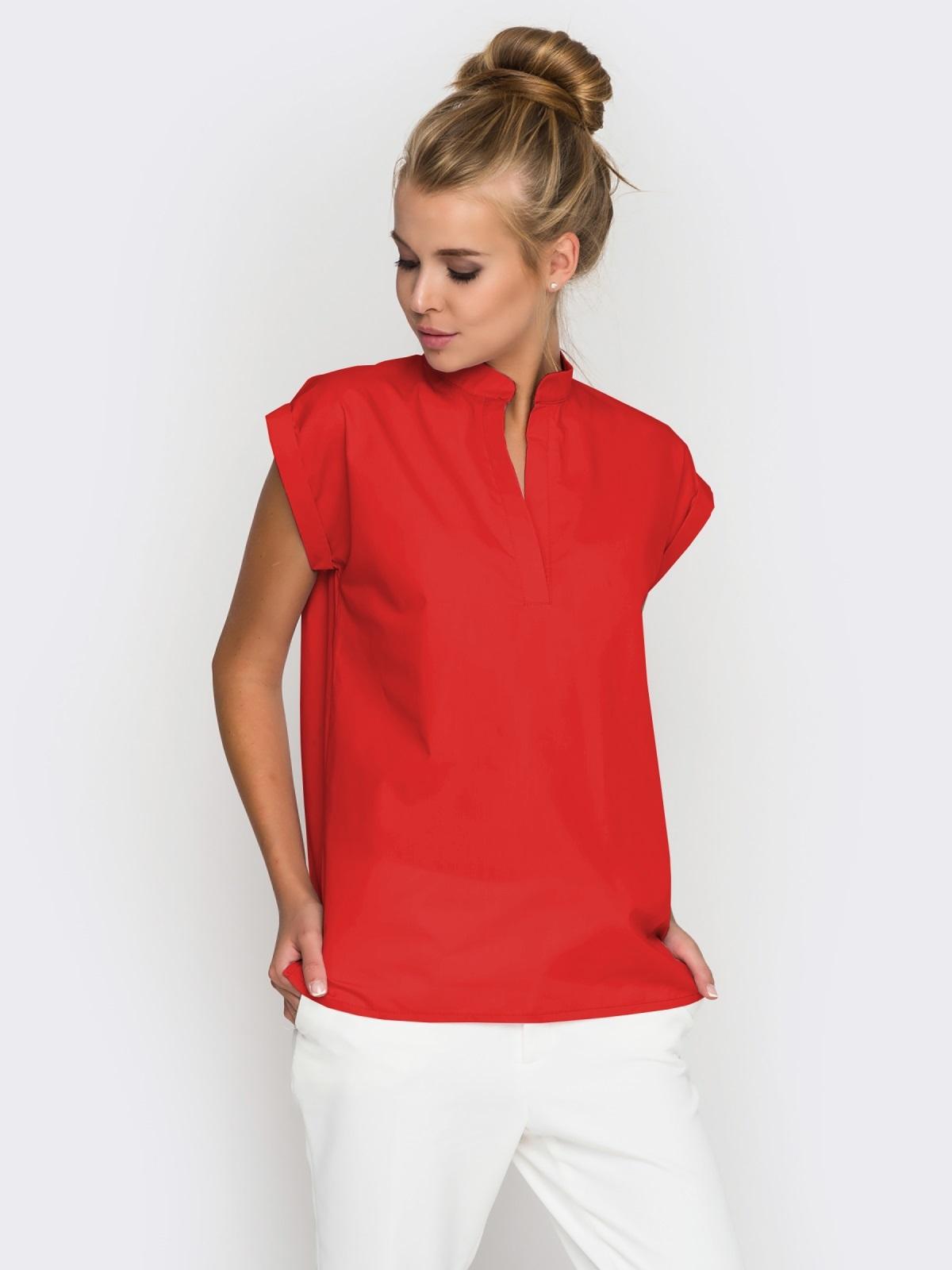 Хлопковая блузка прямого кроя красная - 38731, фото 1 – интернет-магазин Dressa
