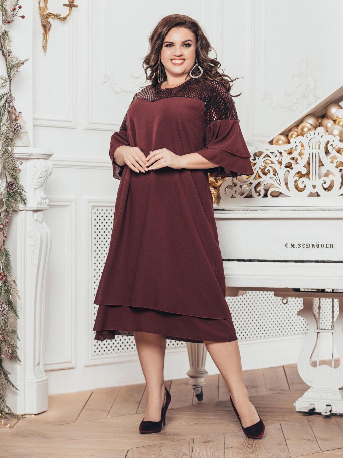 Шифоновое платье с пайетками по кокетке бордовое 43203, фото 1