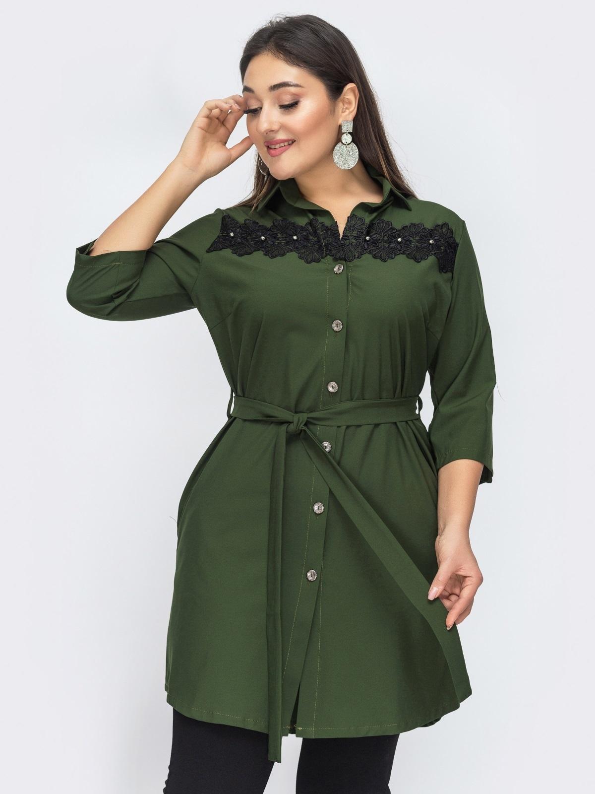 Платье-рубашка большого размера цвета хаки 44589, фото 1