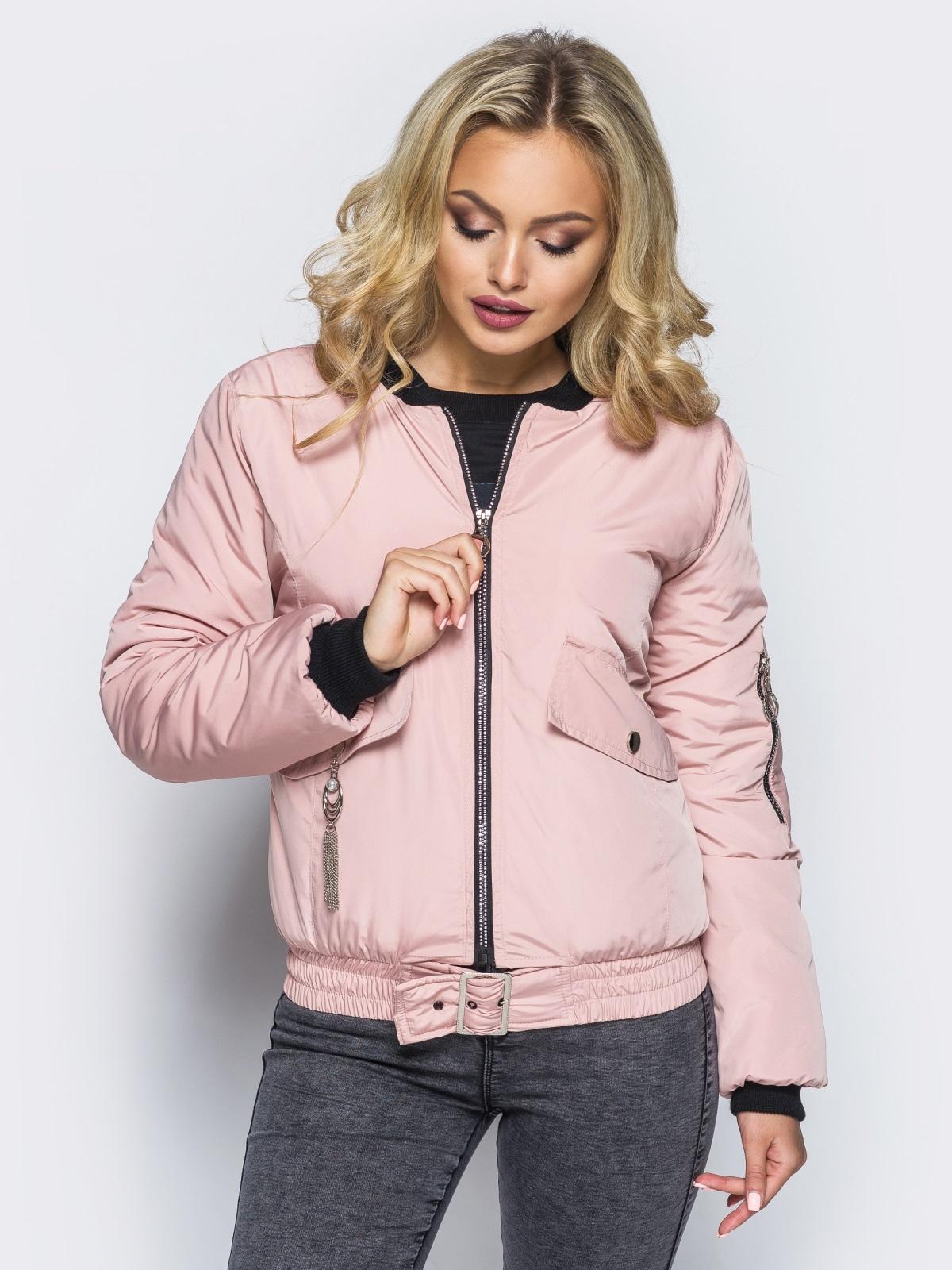Куртка-бомбер розового цвета с регулируемым поясом-резинкой - 16692, фото 1 – интернет-магазин Dressa