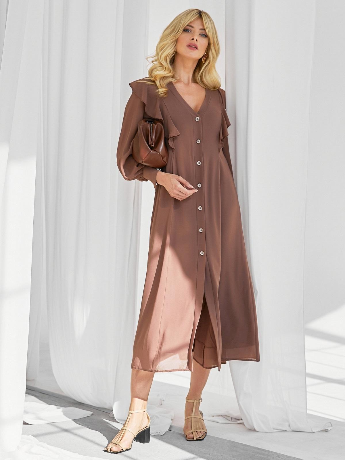 Романтичное платье-миди приталенного силуэта коричневого цвета 50113, фото 1