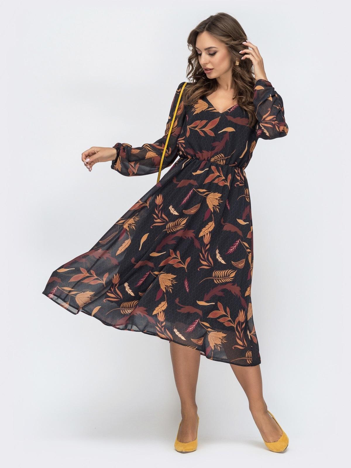 Шифоновое платье с принтом черное - 45067, фото 1 – интернет-магазин Dressa
