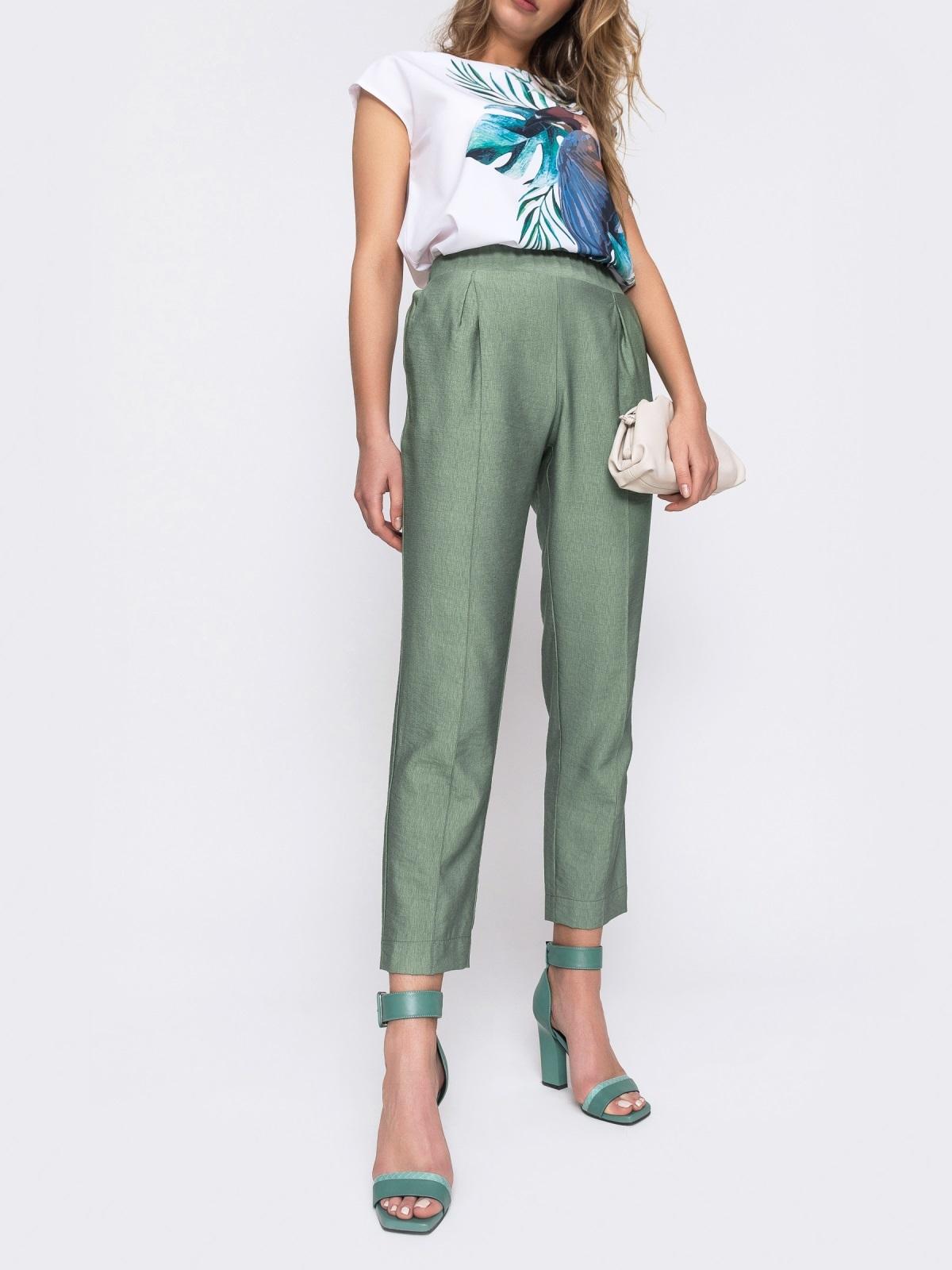 Зеленые брюки из льна с резинкой по талии 48435, фото 1