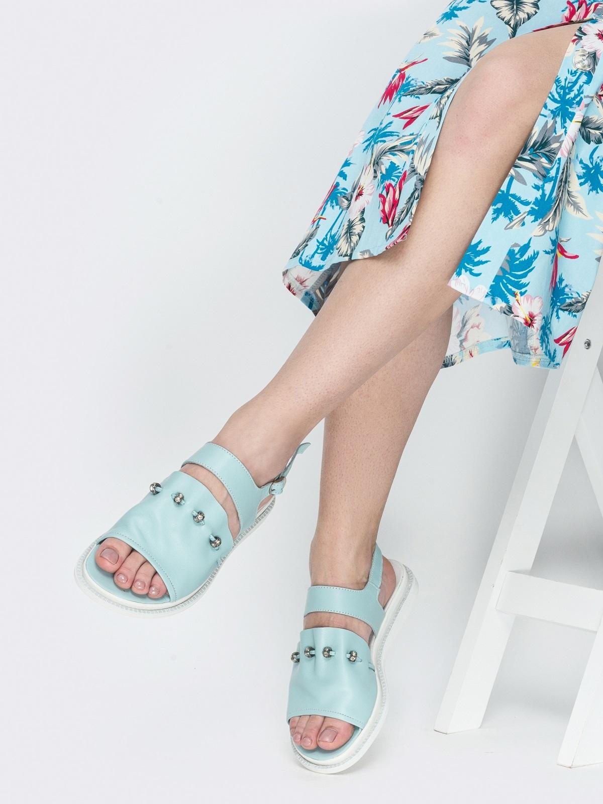 Голубые босоножки с фурнитурой - 39105, фото 1 – интернет-магазин Dressa