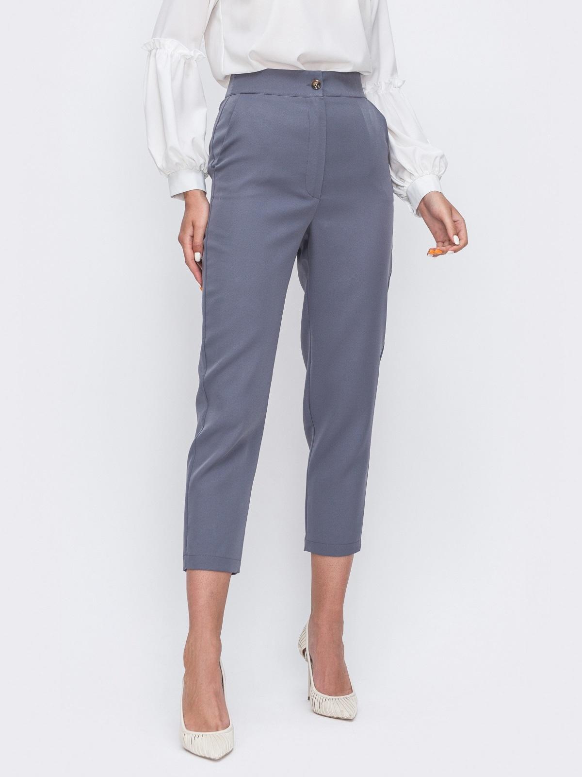 Укороченные брюки с высокой посадкой серые 49401, фото 1