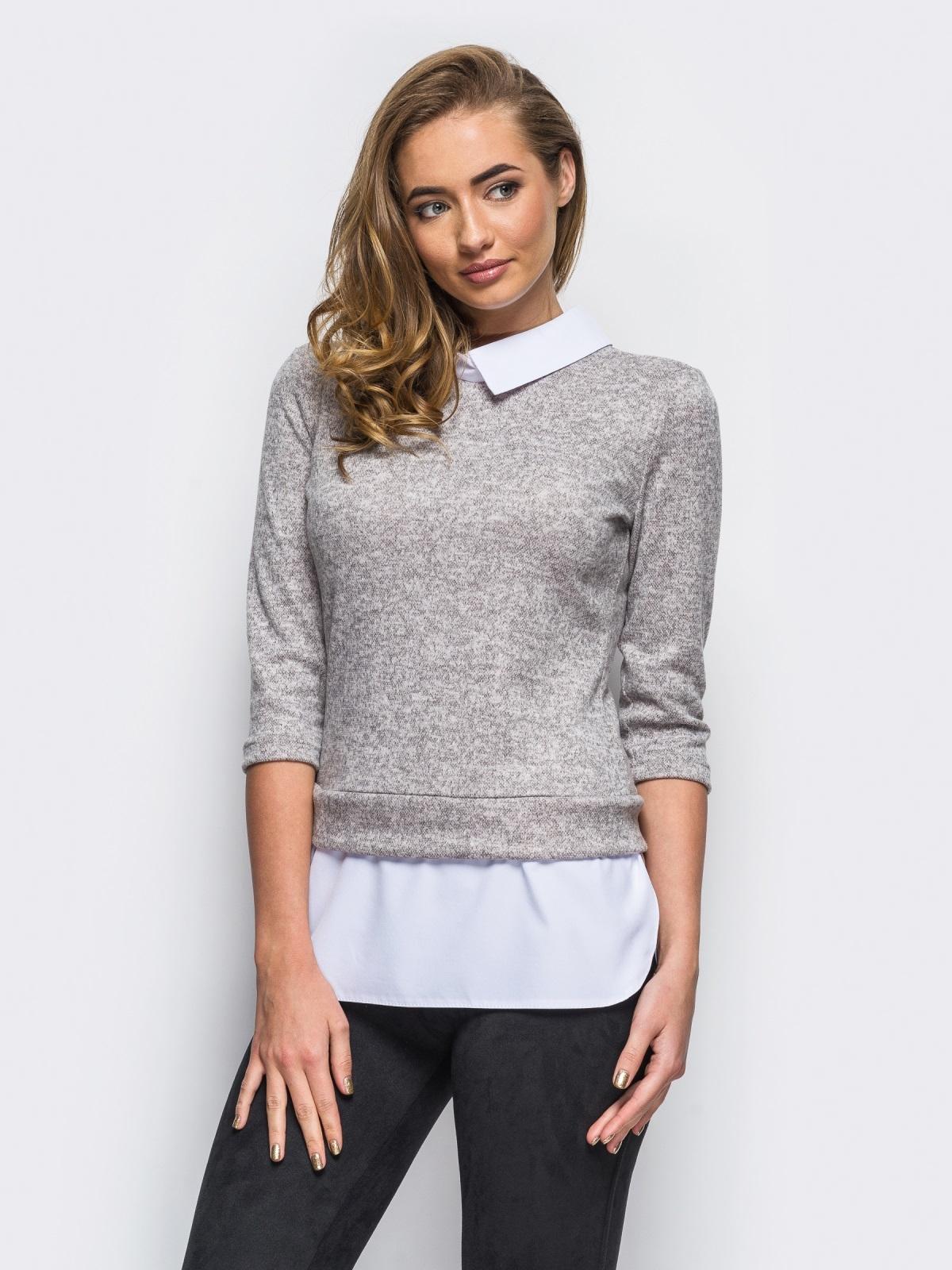 Серая кофта с имитацией блузы по низу - 10592, фото 1 – интернет-магазин Dressa