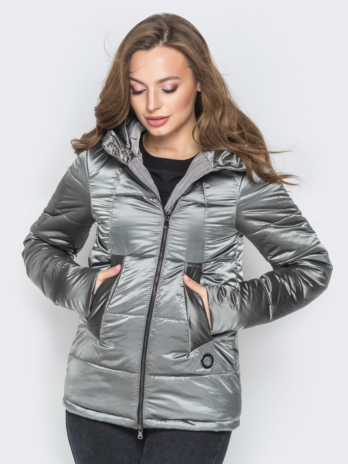 Серая куртка на молнии со вшитым капюшоном - 20269, фото 1 – интернет-магазин Dressa