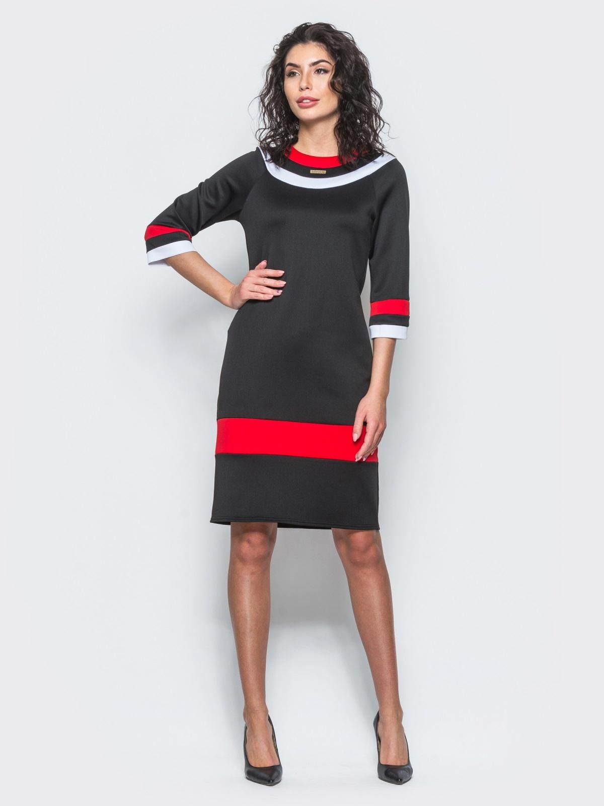 Чёрное платье с контрастными вставками и рукавом 3/4 - 12685, фото 1 – интернет-магазин Dressa