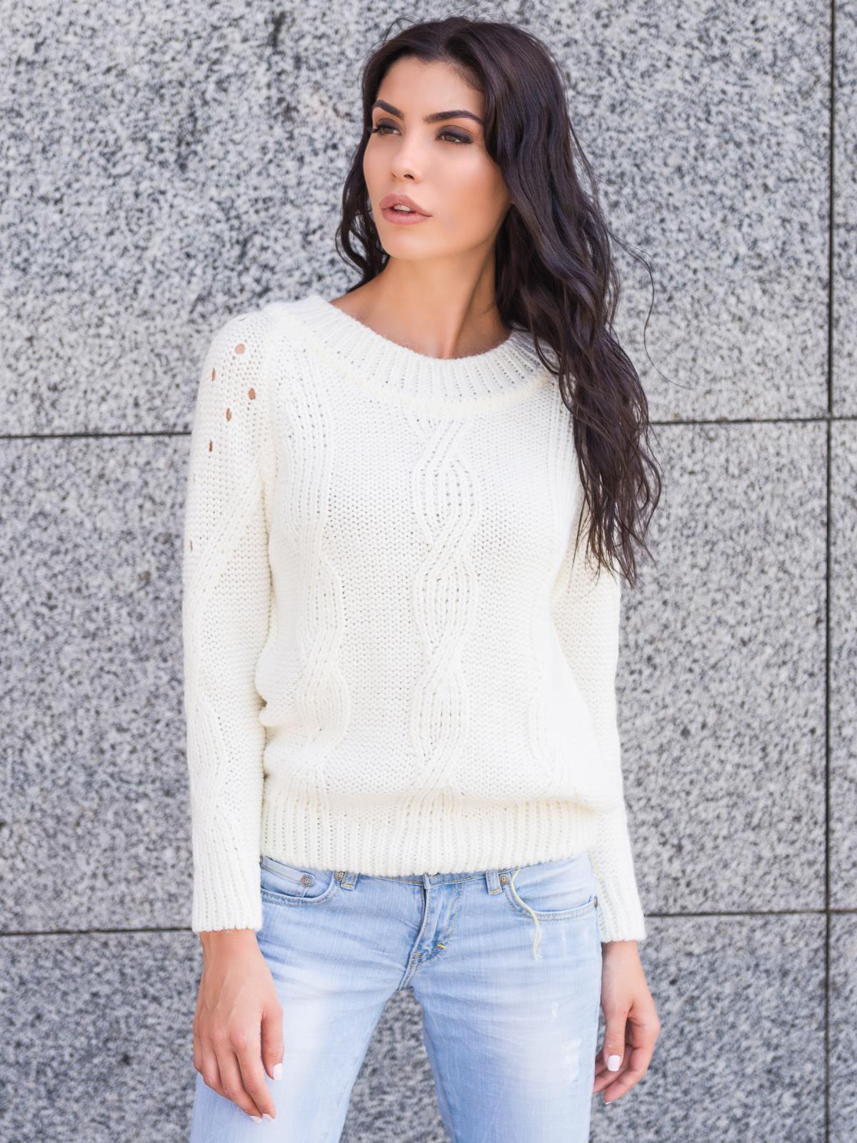Пуловер с вырезом на спинке - 13173, фото 1 – интернет-магазин Dressa