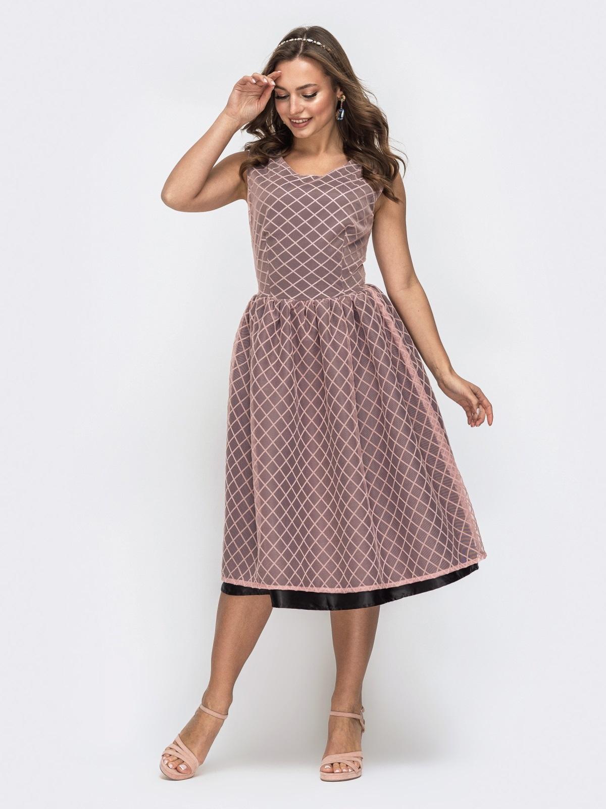 Двухслойное платье с расклешенной юбкой розовое 45738, фото 1