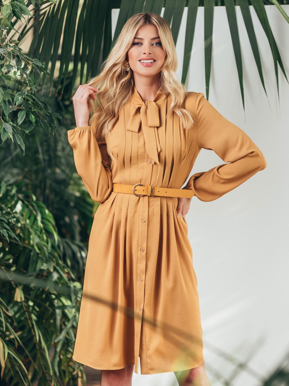 Платье на пуговицах с воротником-аскот желтого цвета 45835, фото 1