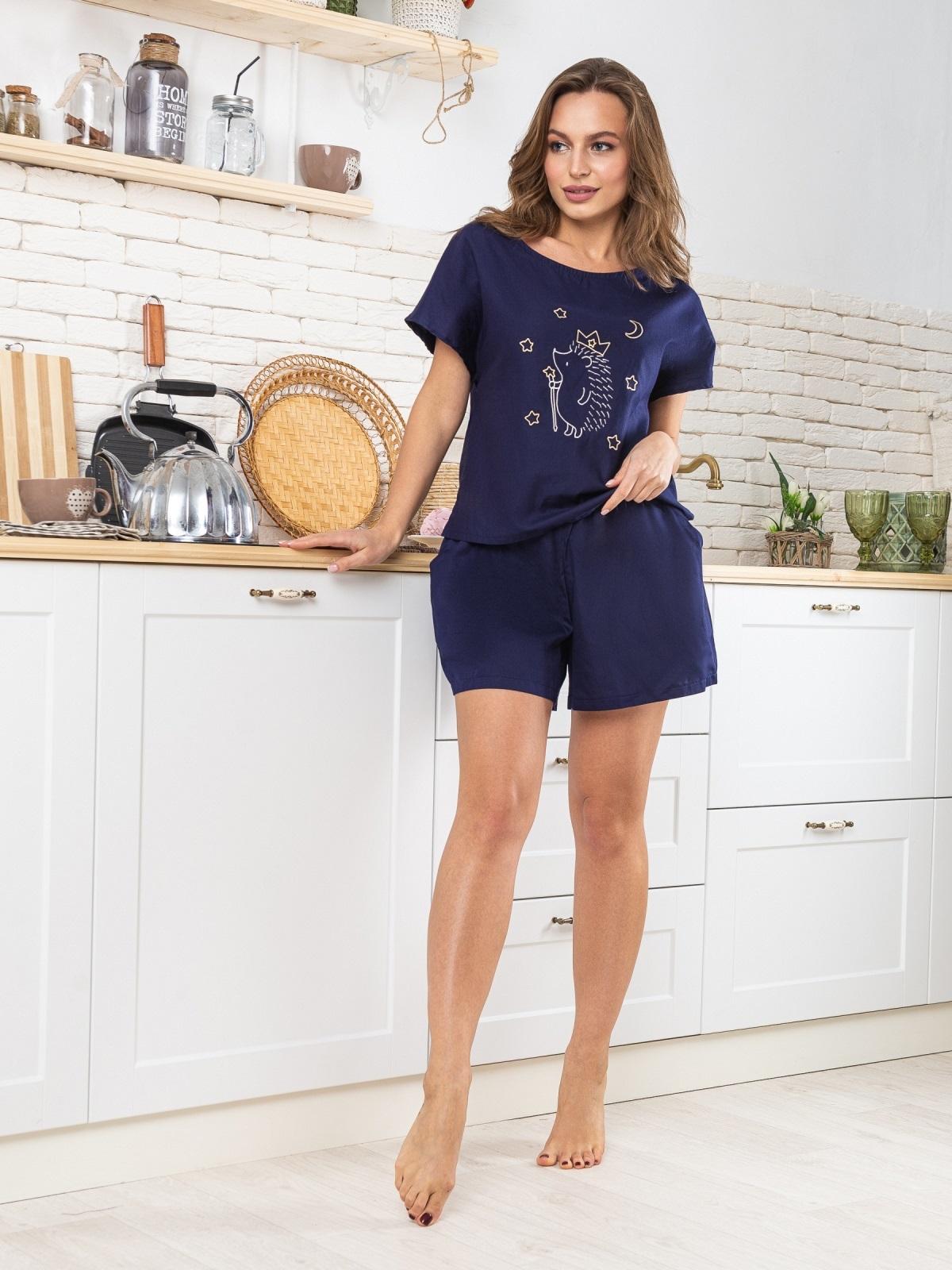 """Тёмно-синяя пижама из хлопка с вышивкой """"ёж"""" - 20429, фото 1 – интернет-магазин Dressa"""