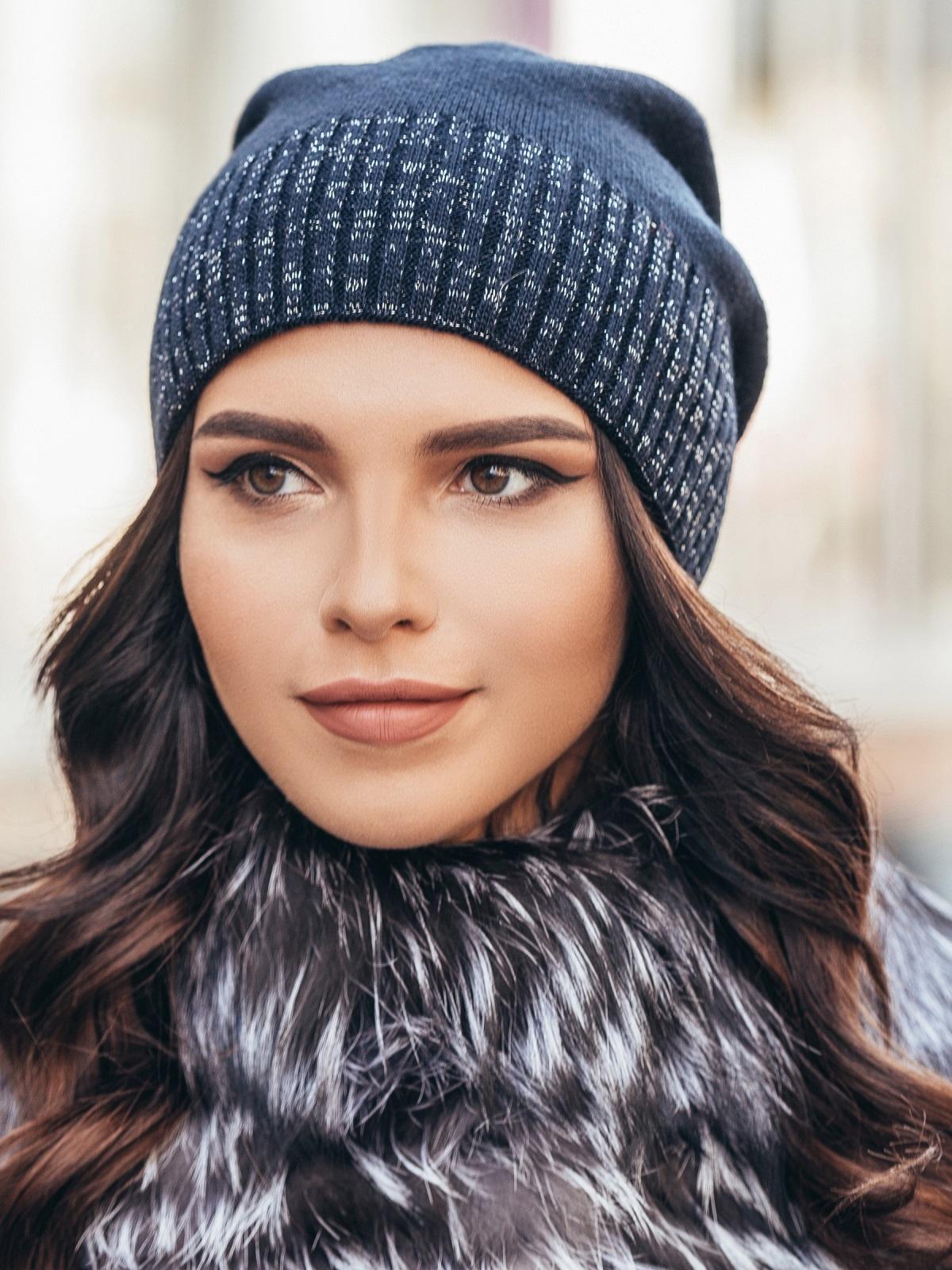 Темно-синяя зимняя шапка без помпона - 14726, фото 1 – интернет-магазин Dressa