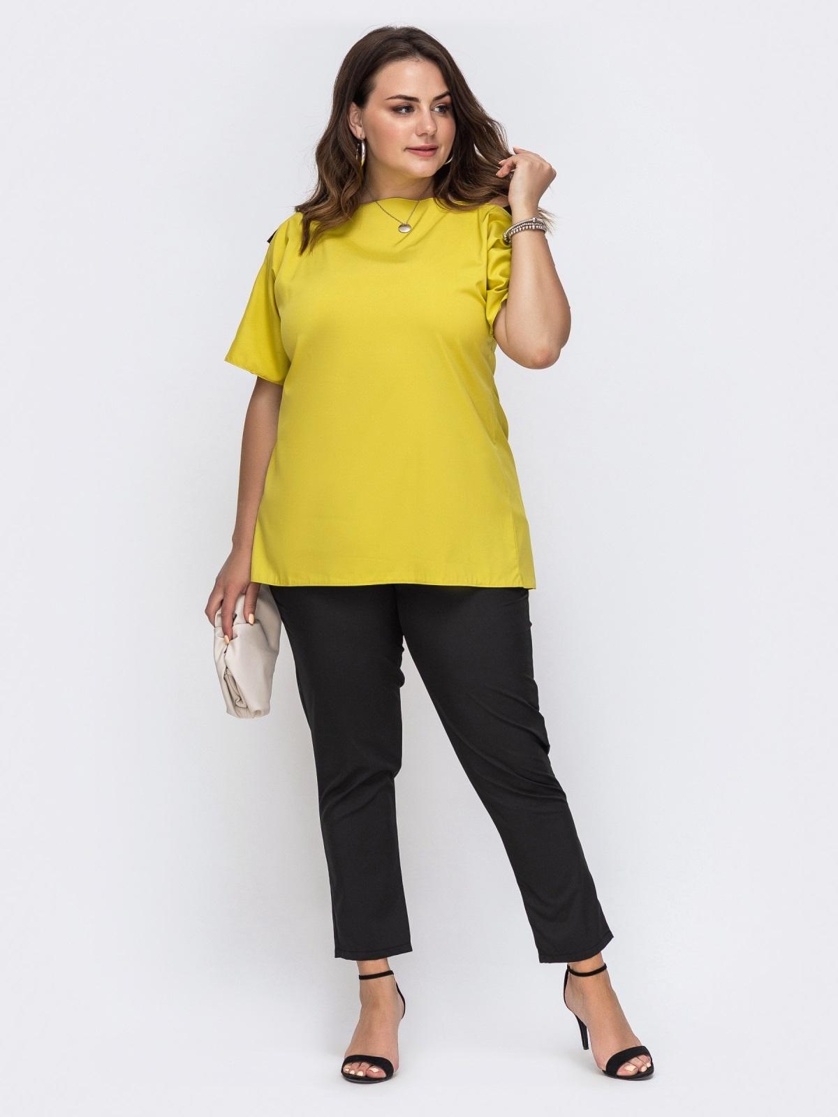 Комплект большого размера с желтой блузкой и брюками 49695, фото 1