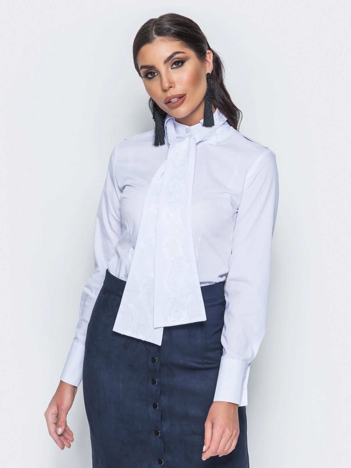 Рубашка с функциональными пуговицами и белым поясом 14562, фото 1