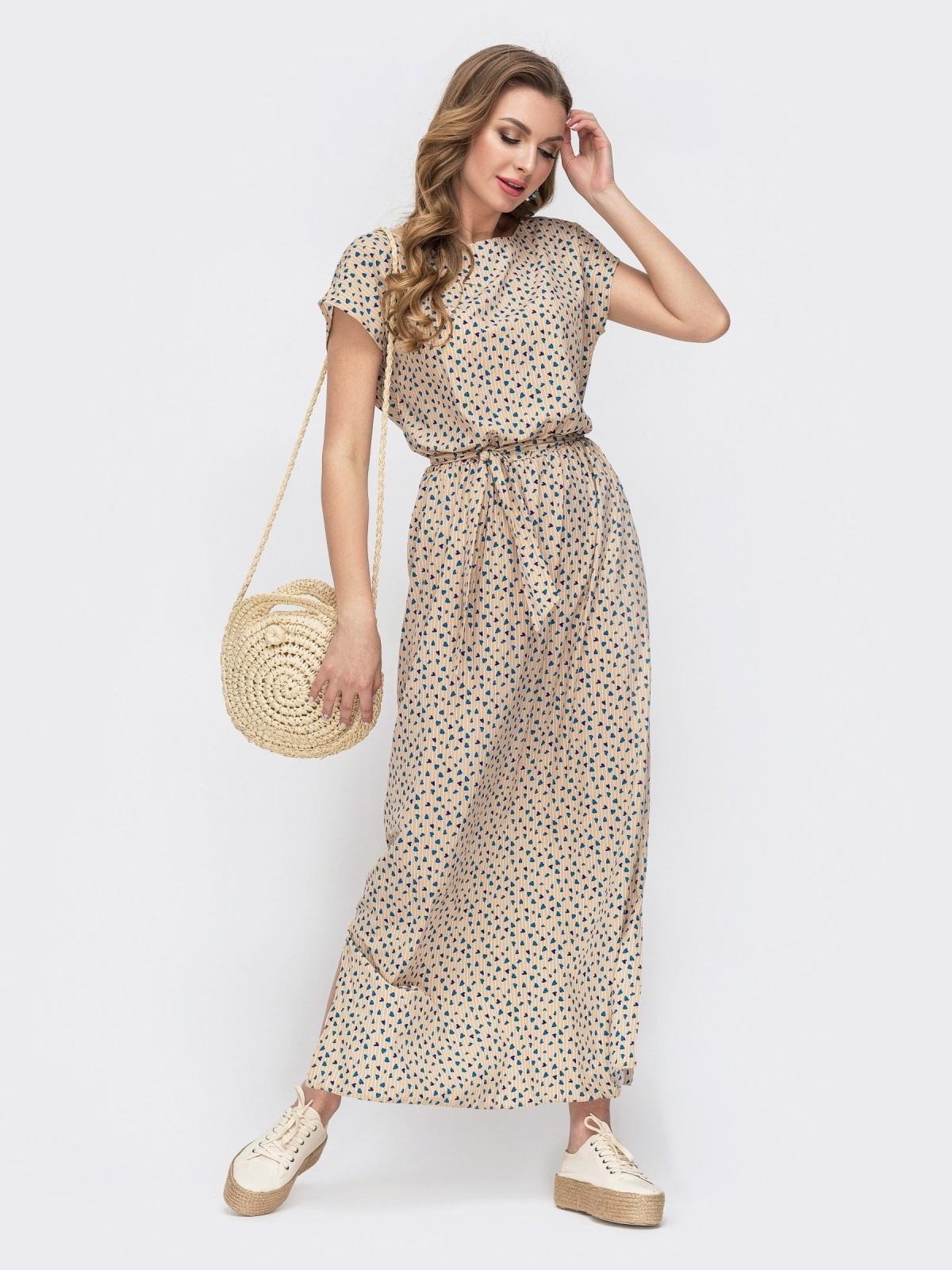 Бежевое платье-макси с принтом и резинкой в поясе 46773, фото 1