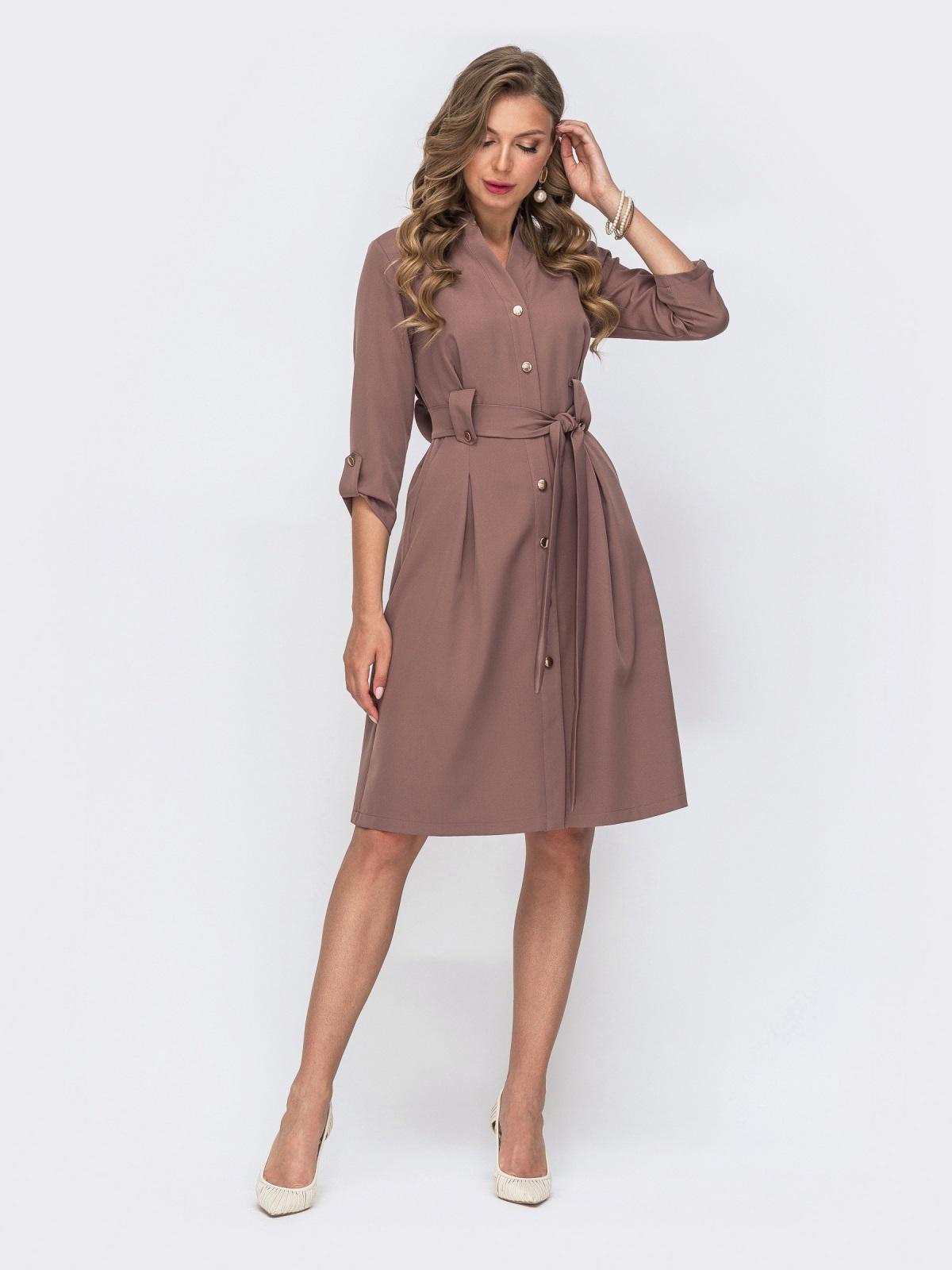 Коричневое платье с расклешенной юбкой 49403, фото 1