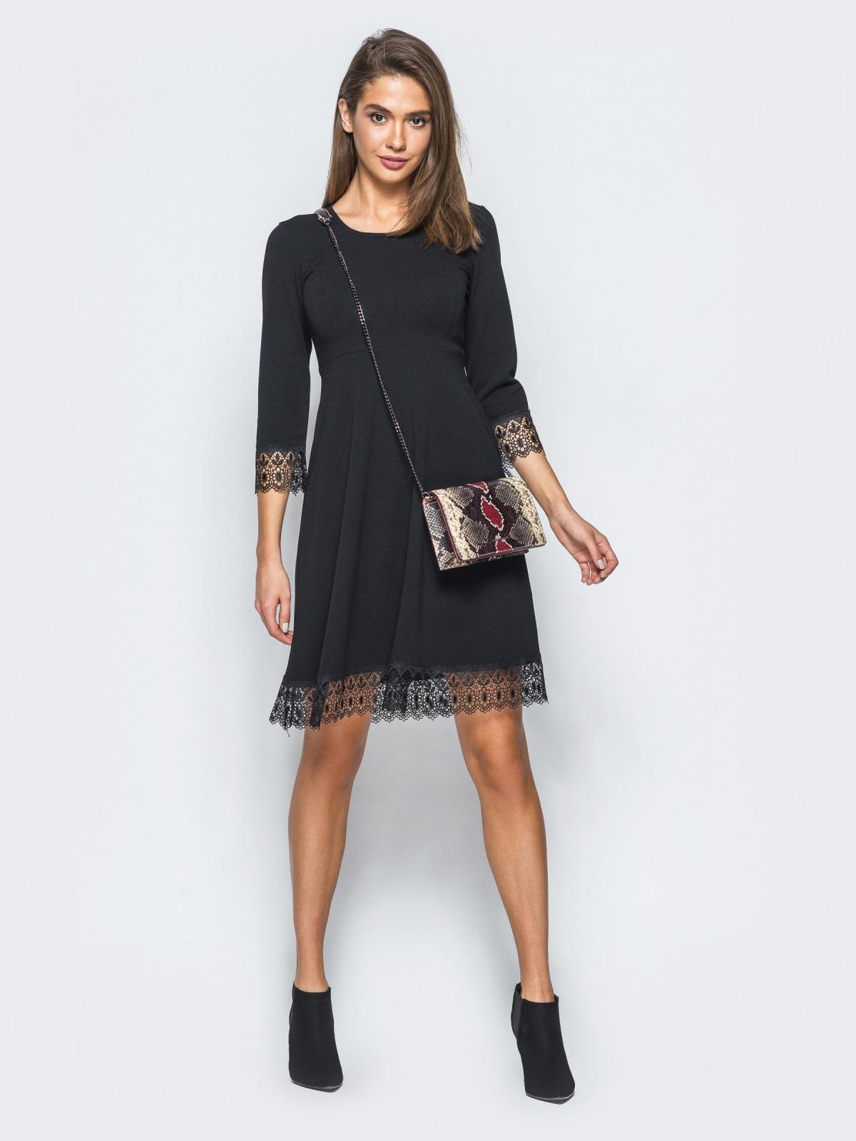 Платье с завышенной талией и кружевом черное - 17370, фото 1 – интернет-магазин Dressa