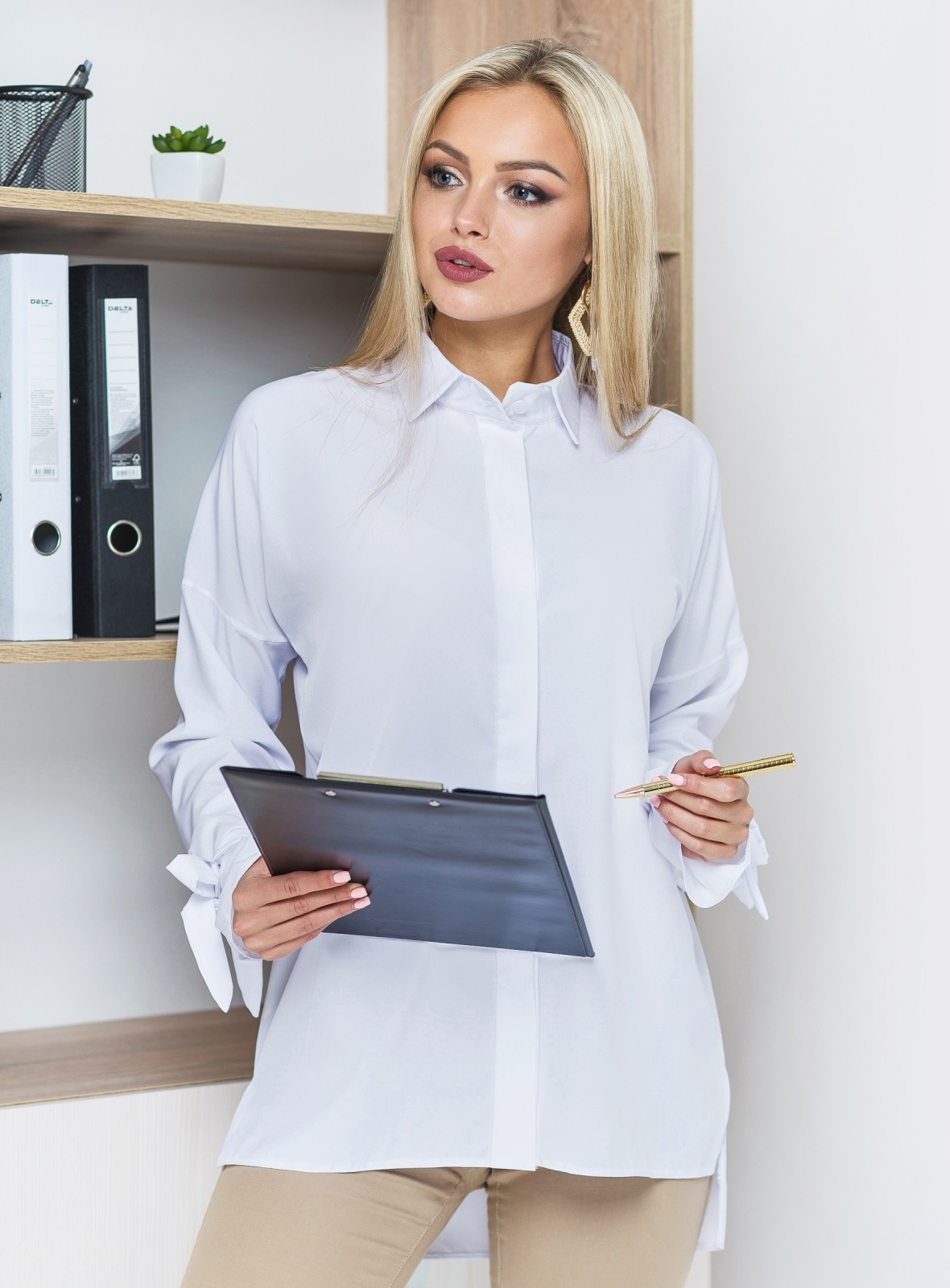 Рубашка с супатной застёжкой и лентами на рукавах - 14567, фото 3 – интернет-магазин Dressa