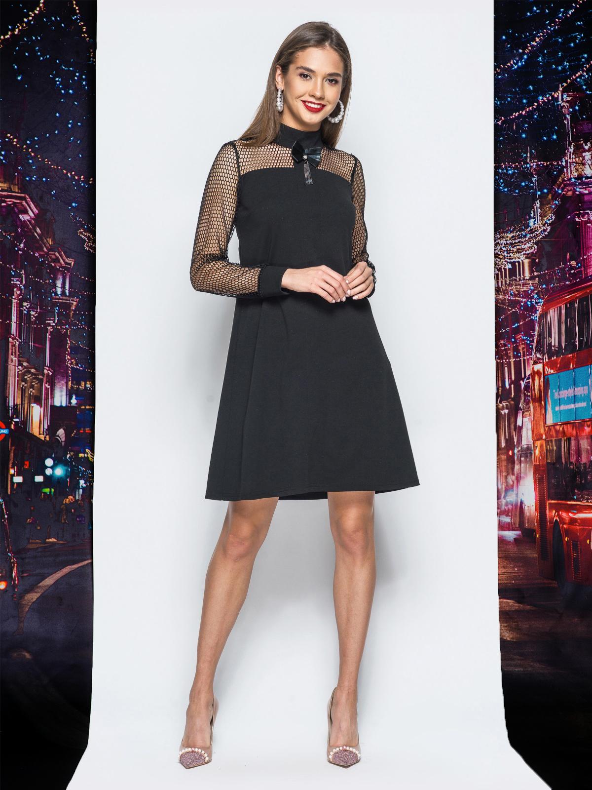 Платье А-силуэта с рукавами из фатина черное - 17920, фото 1 – интернет-магазин Dressa