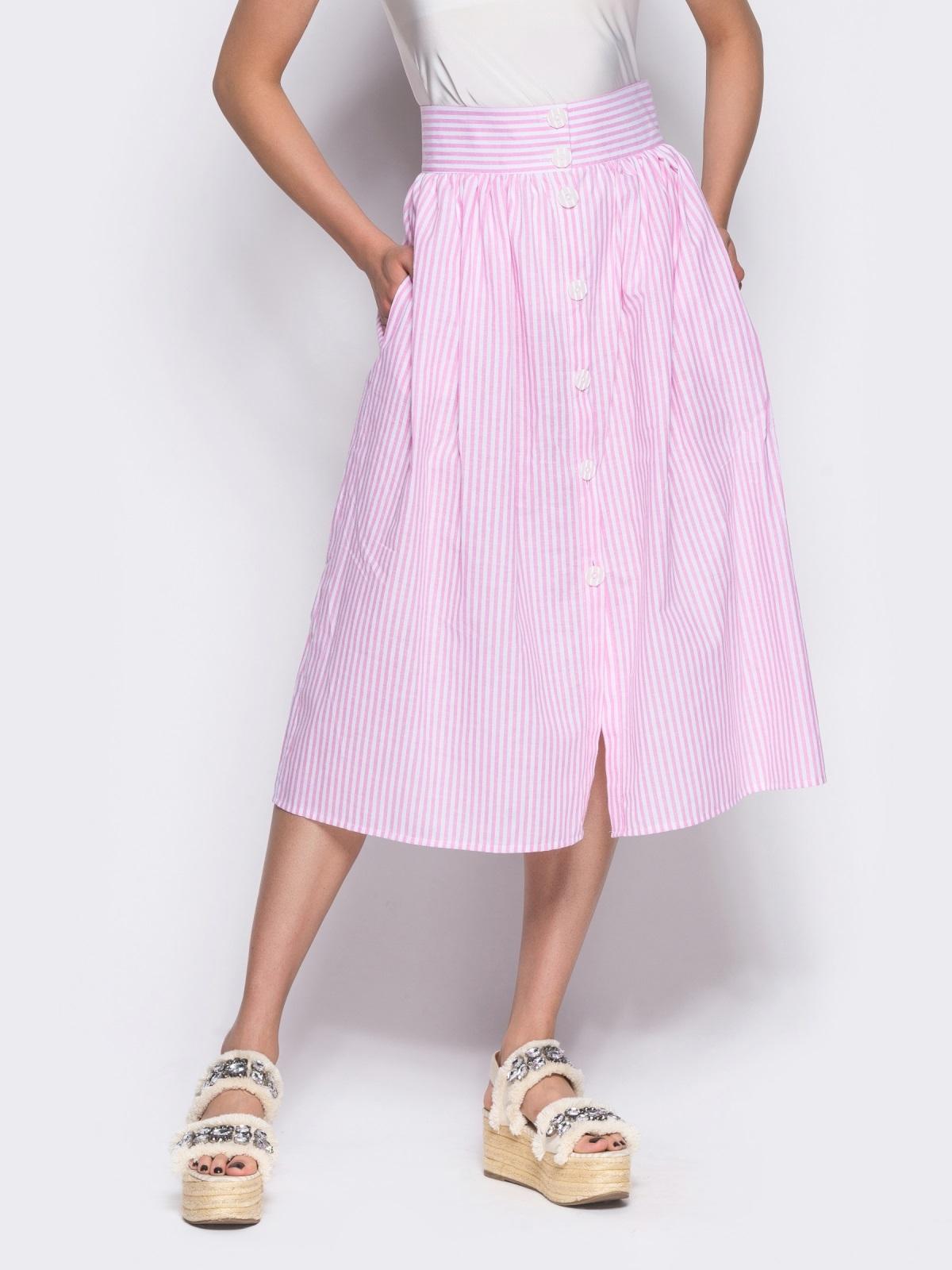 Юбка-миди на пуговицах розовая - 12167, фото 4 – интернет-магазин Dressa