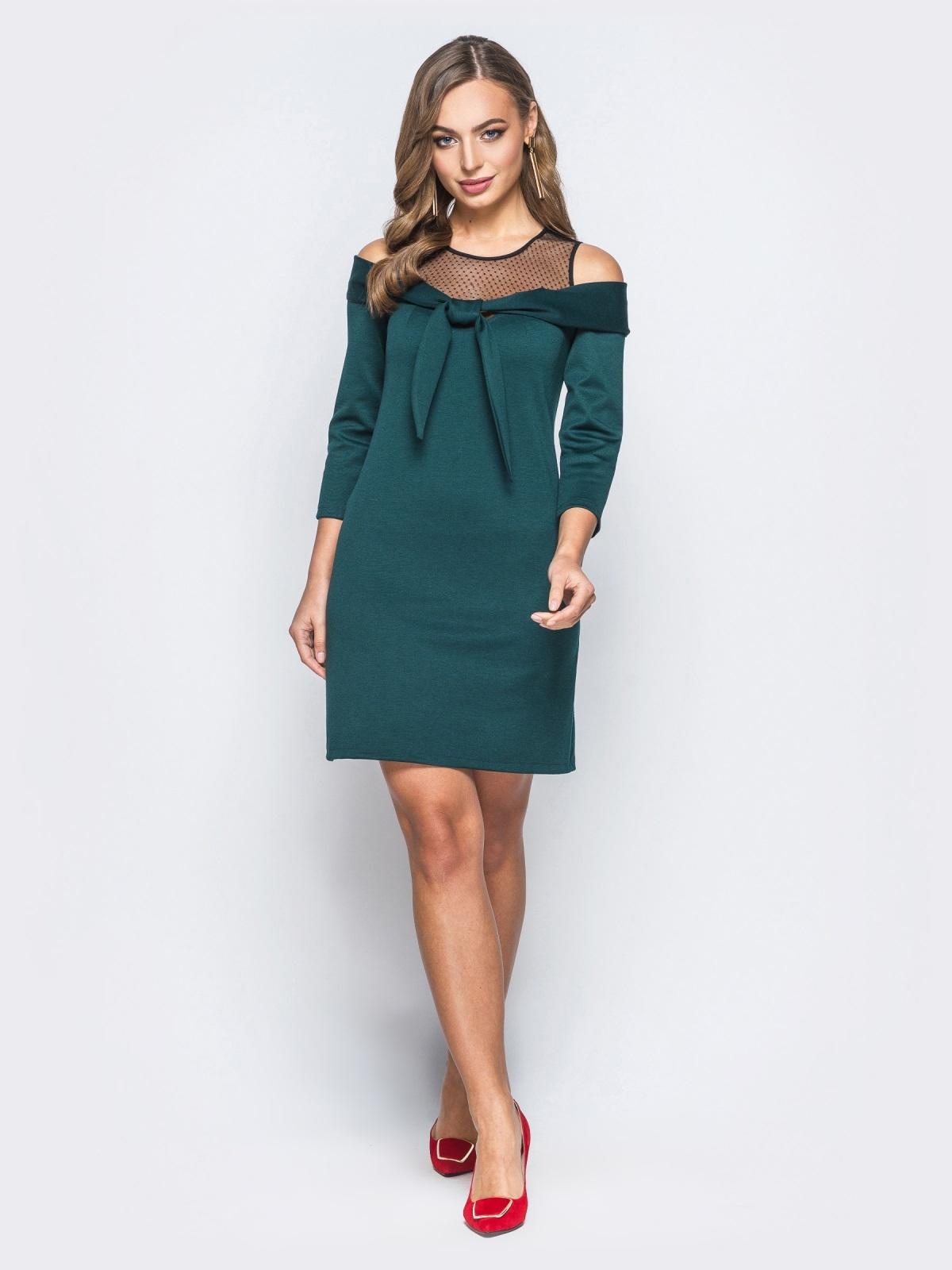 Трикотажное платье с бантом по горловине зелёное - 18086, фото 1 – интернет-магазин Dressa