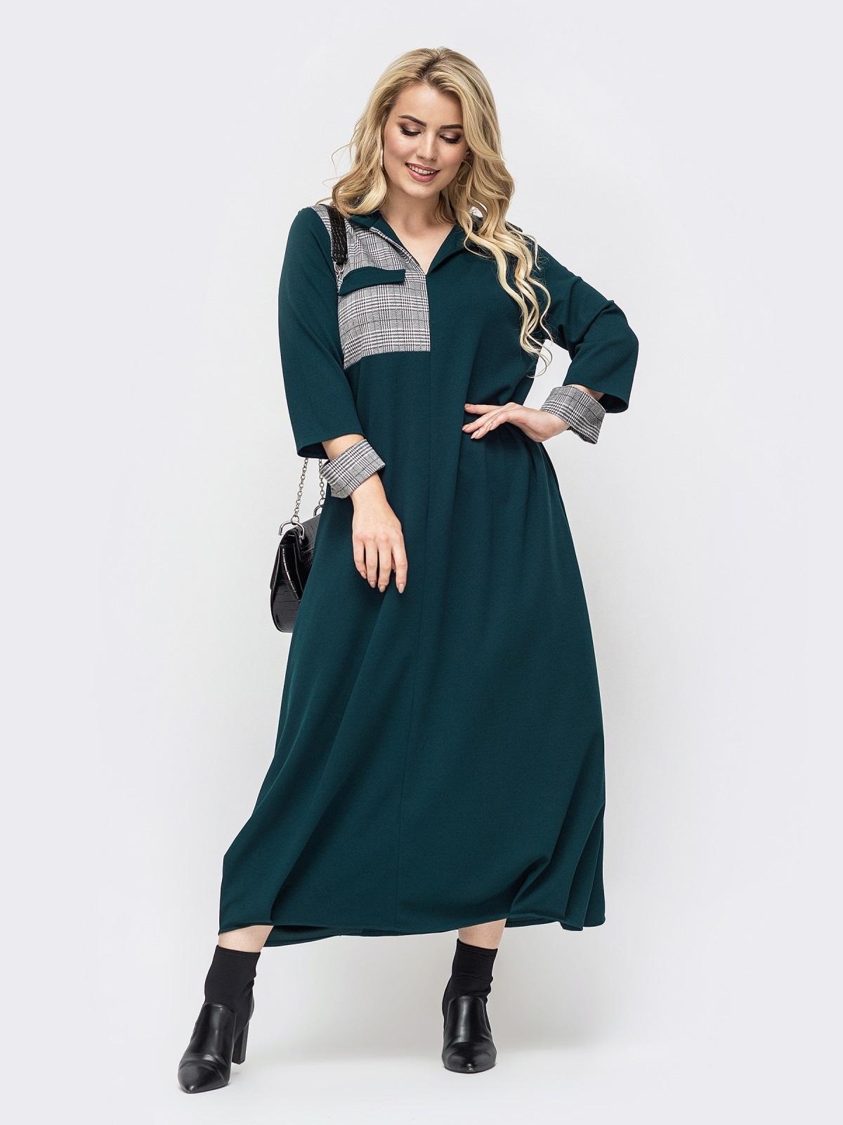 Зеленое платье батал в пол с контрастной вставкой 50870, фото 1