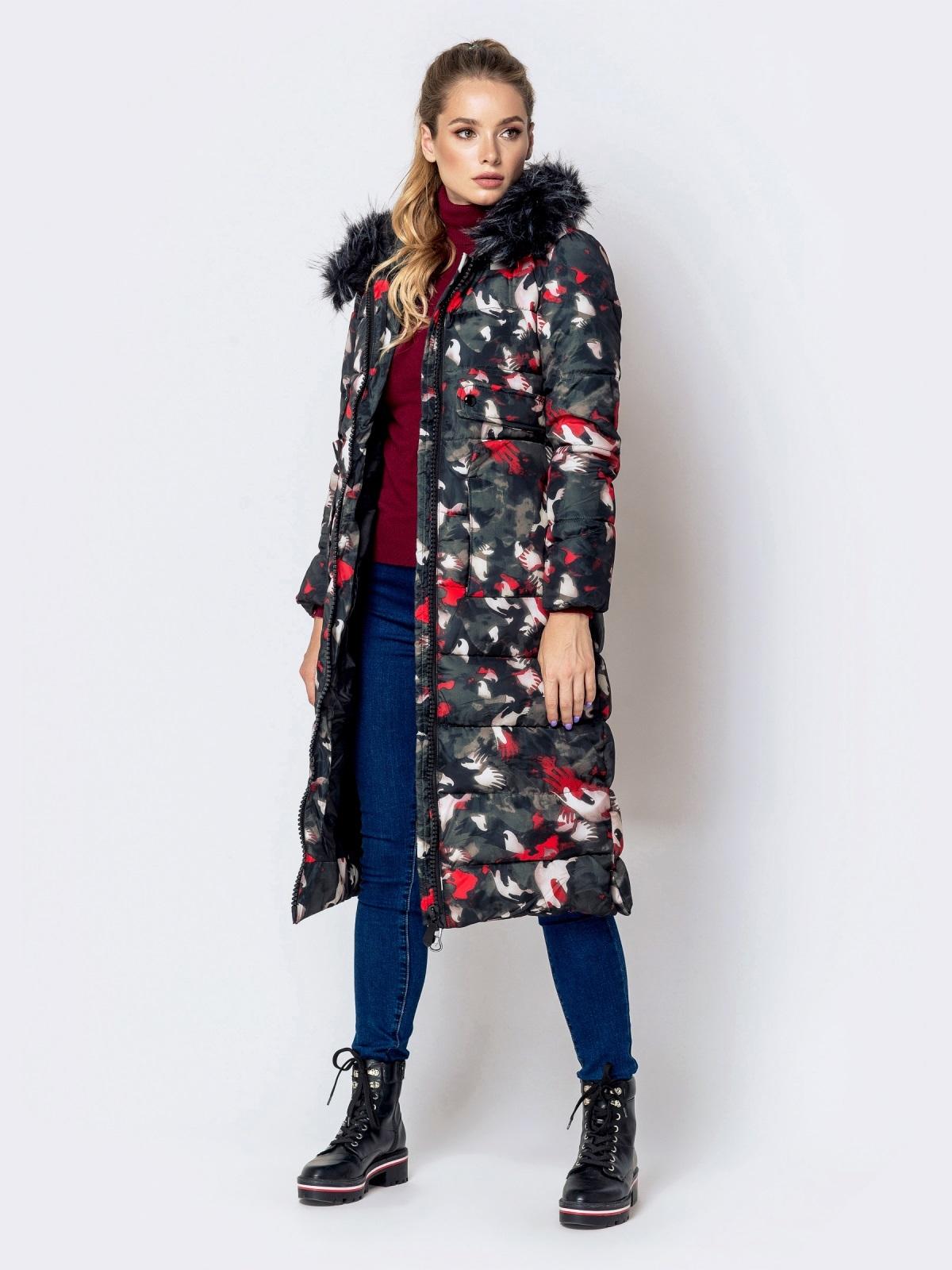 Длинная куртка с принтом и капюшоном чёрная - 40902, фото 1 – интернет-магазин Dressa